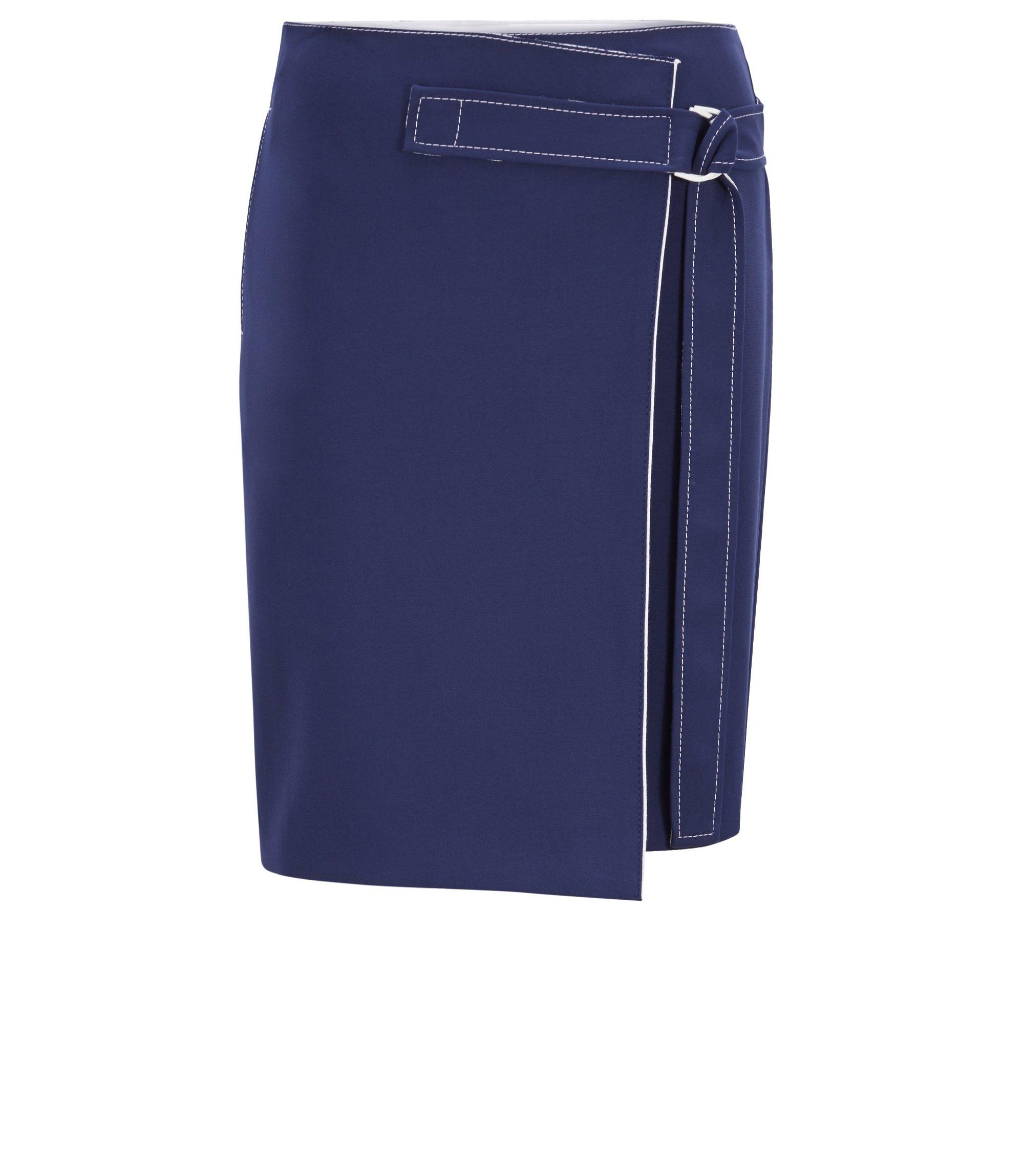 Jupe portefeuille midi avec ceinture et surpiqûres contrastées, Bleu foncé