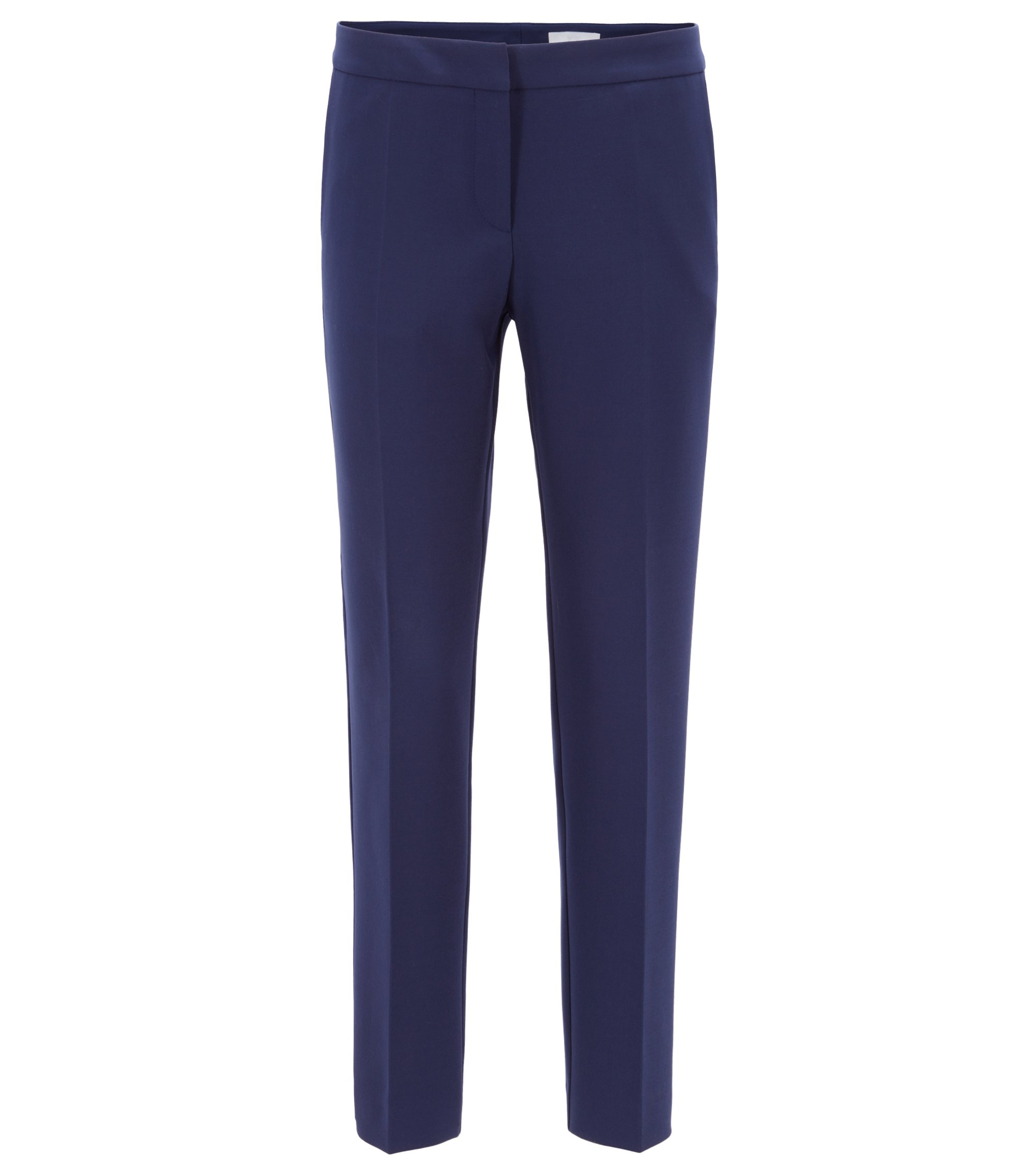 Regular-fit trousers in Portuguese stretch fabric, Dark Blue
