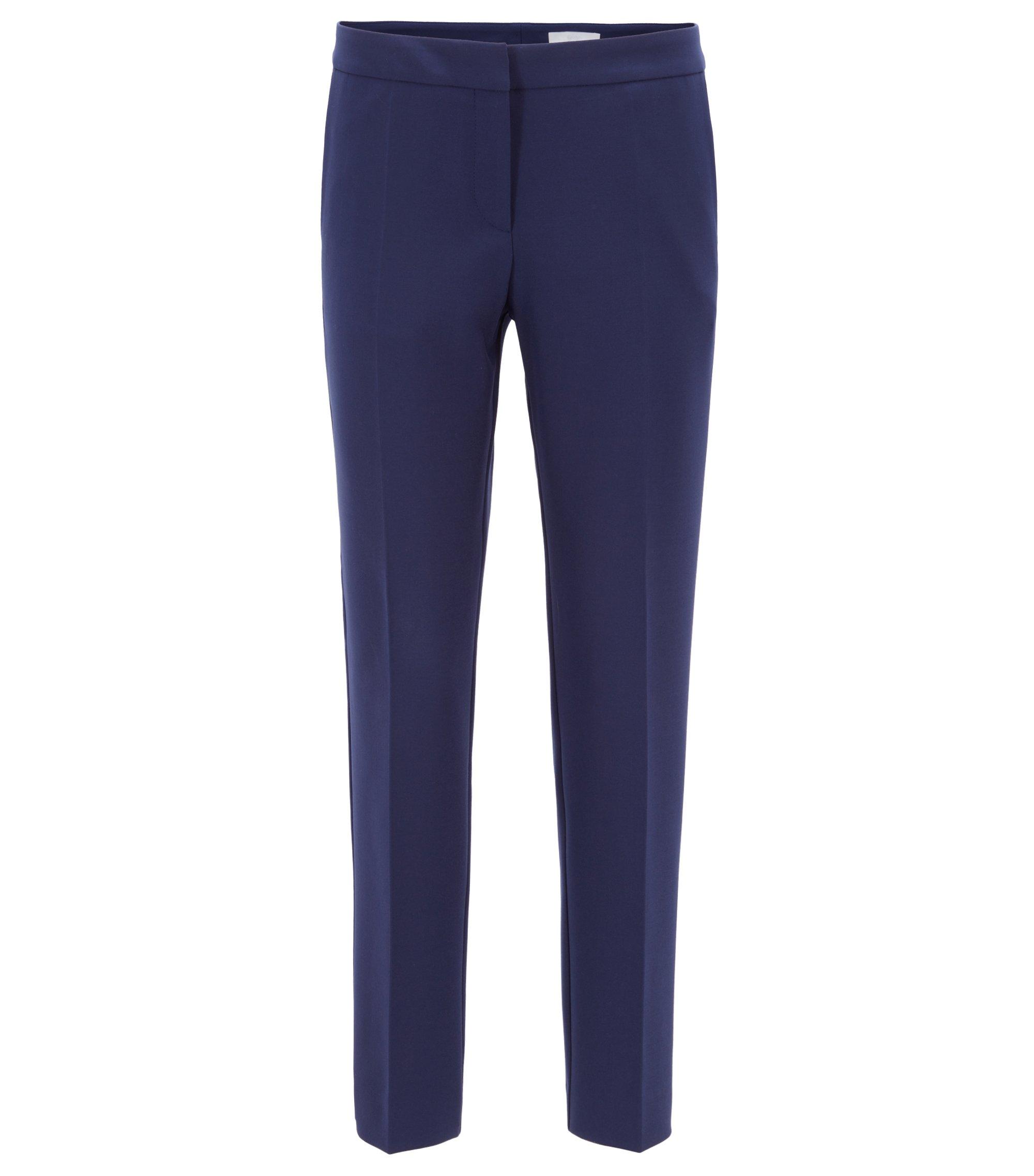 Regular-fit trousers in Portuguese stretch fabric, Bleu foncé