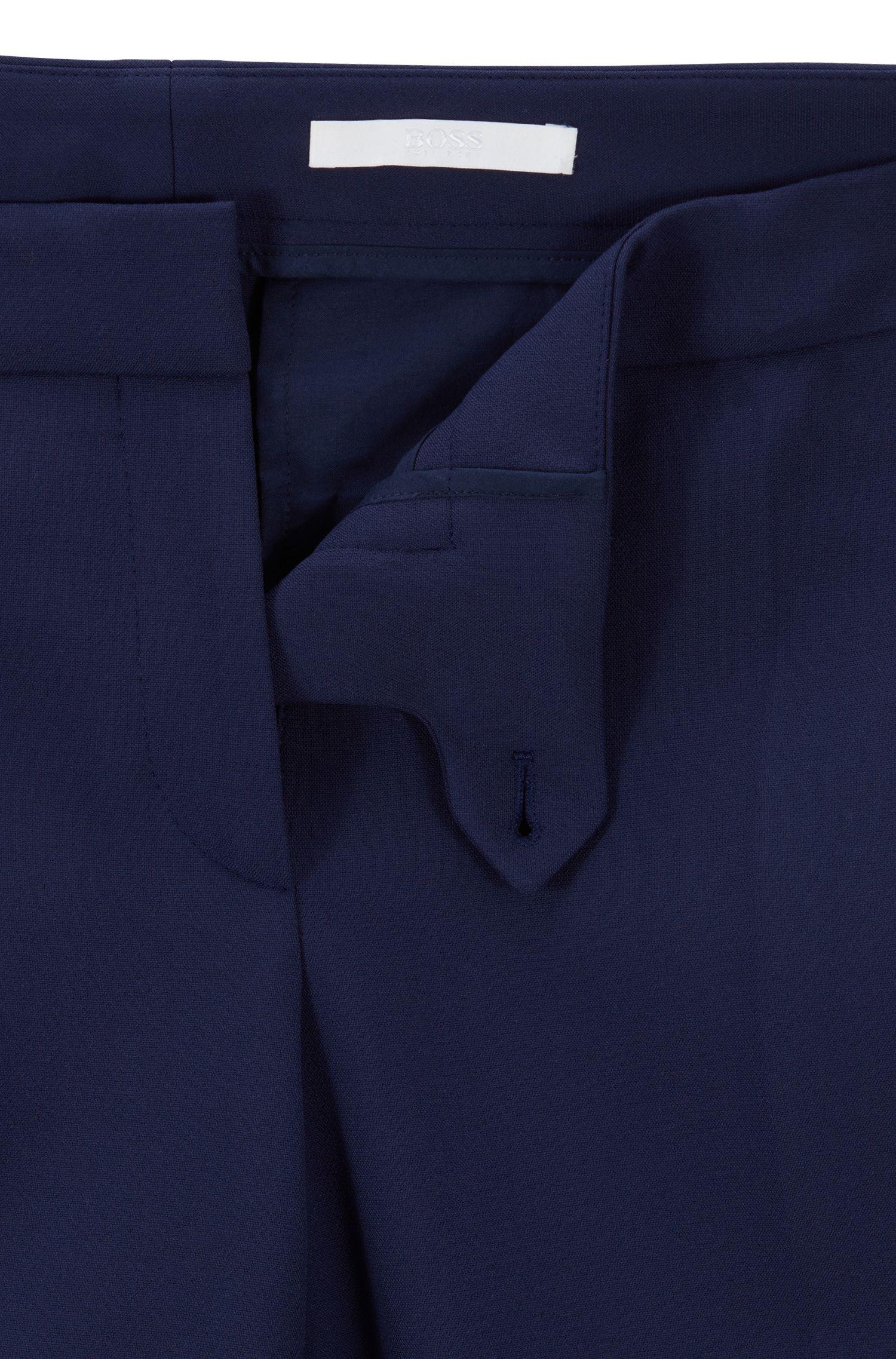Pantalon Regular Fit en tissu stretch portugais, Bleu foncé