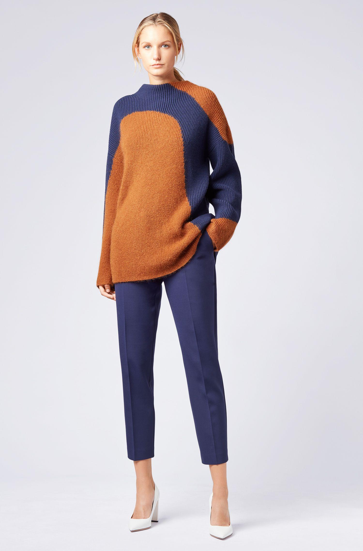 Regular-fit broek van Portugees stretchmateriaal, Donkerblauw