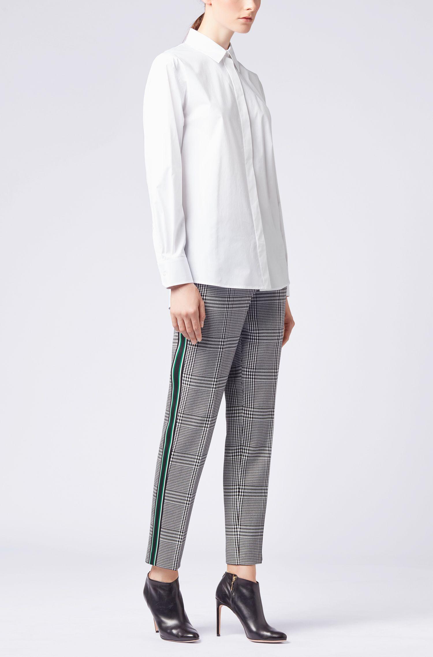 Relaxed-Fit Boyfriend-Hemd aus Stretch-Baumwolle mit Paper-Touch-Finish, Weiß