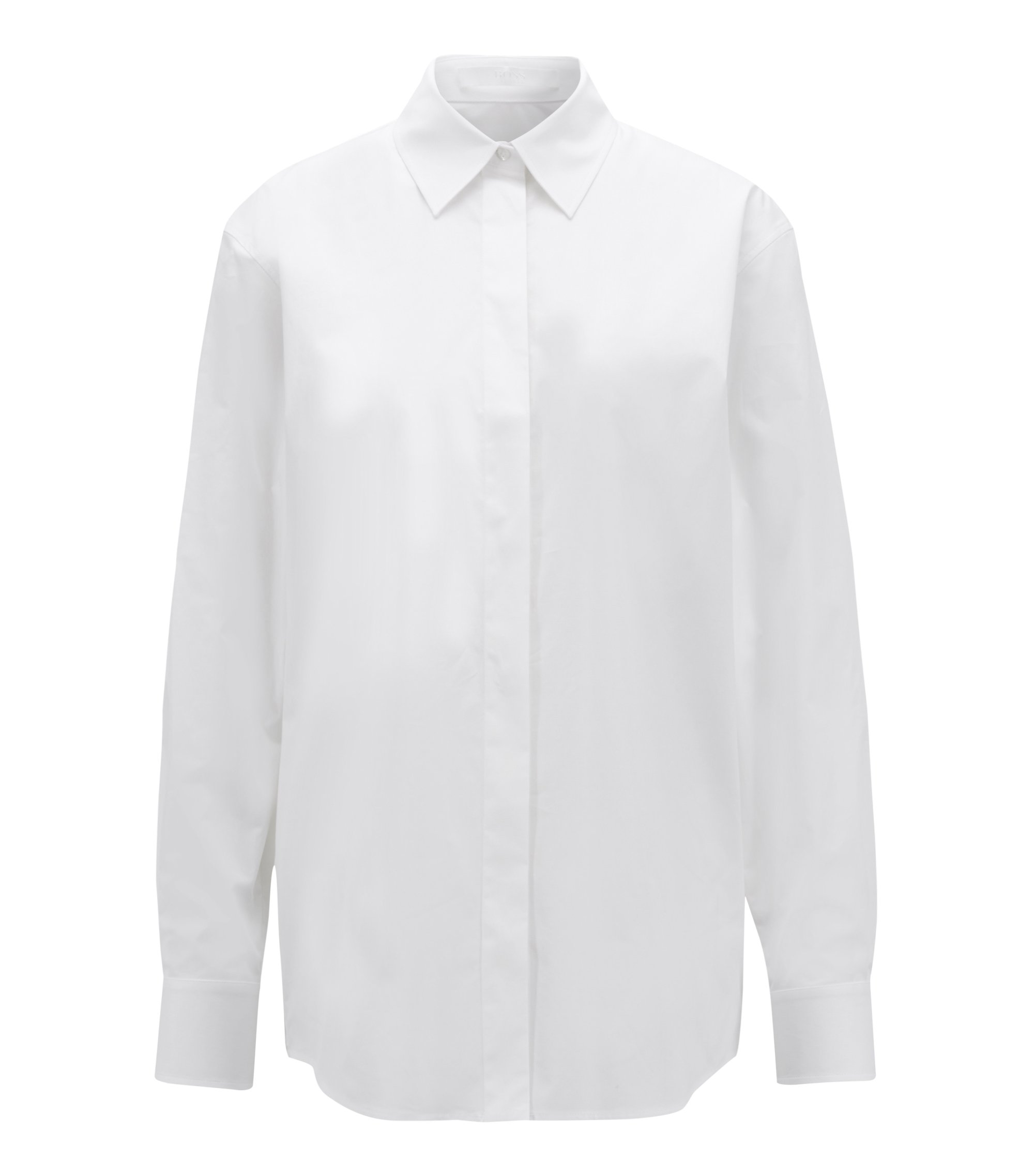 Relaxed-fit boyfriend shirt in paper-touch stretch cotton, Blanco