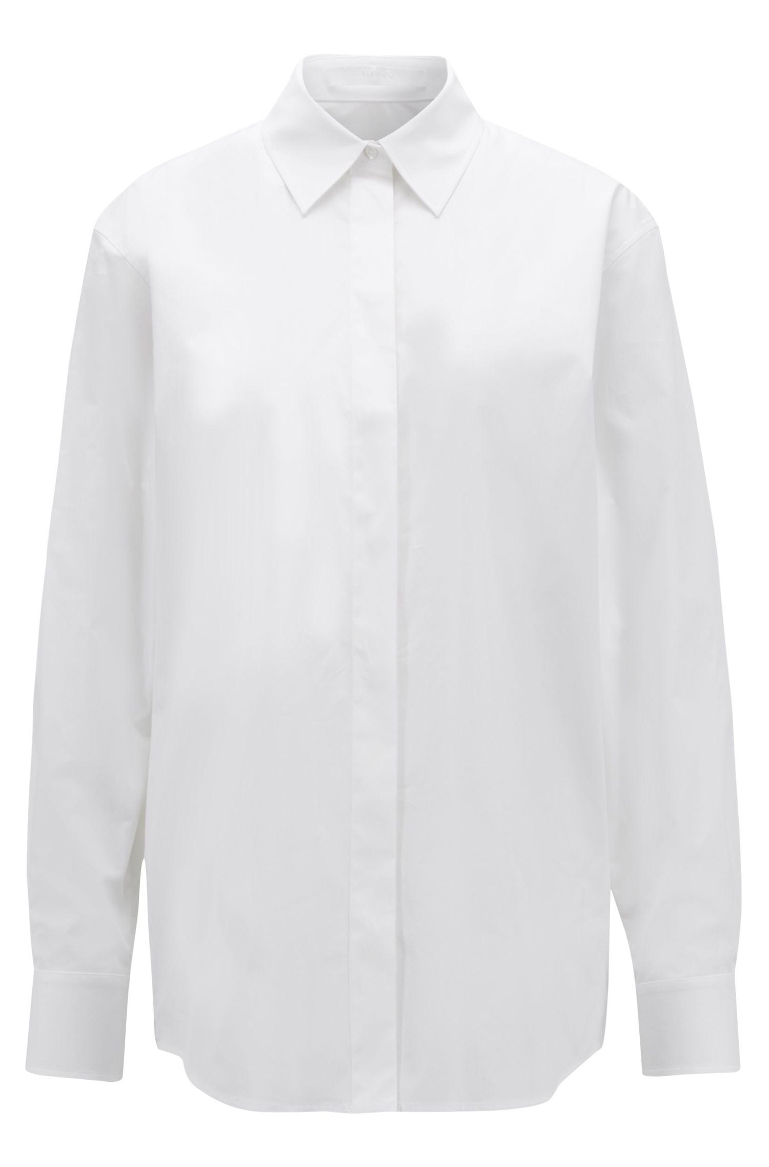 Camisa boyfriend relaxed fit en algodón elástico con tacto de papel, Blanco