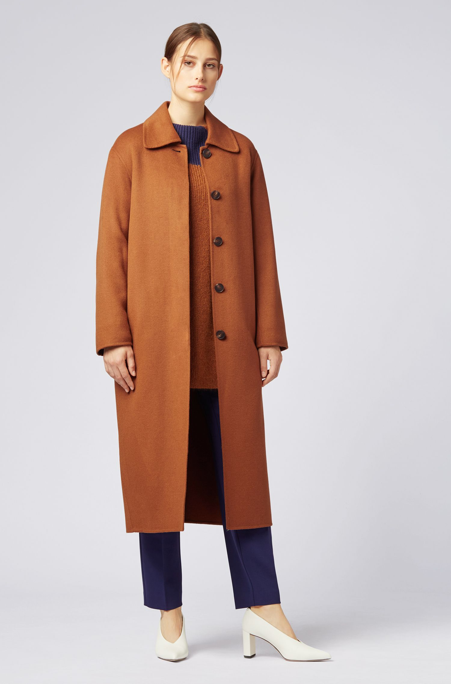 Oversized-fit coat in soft double-faced fabric, Light Brown
