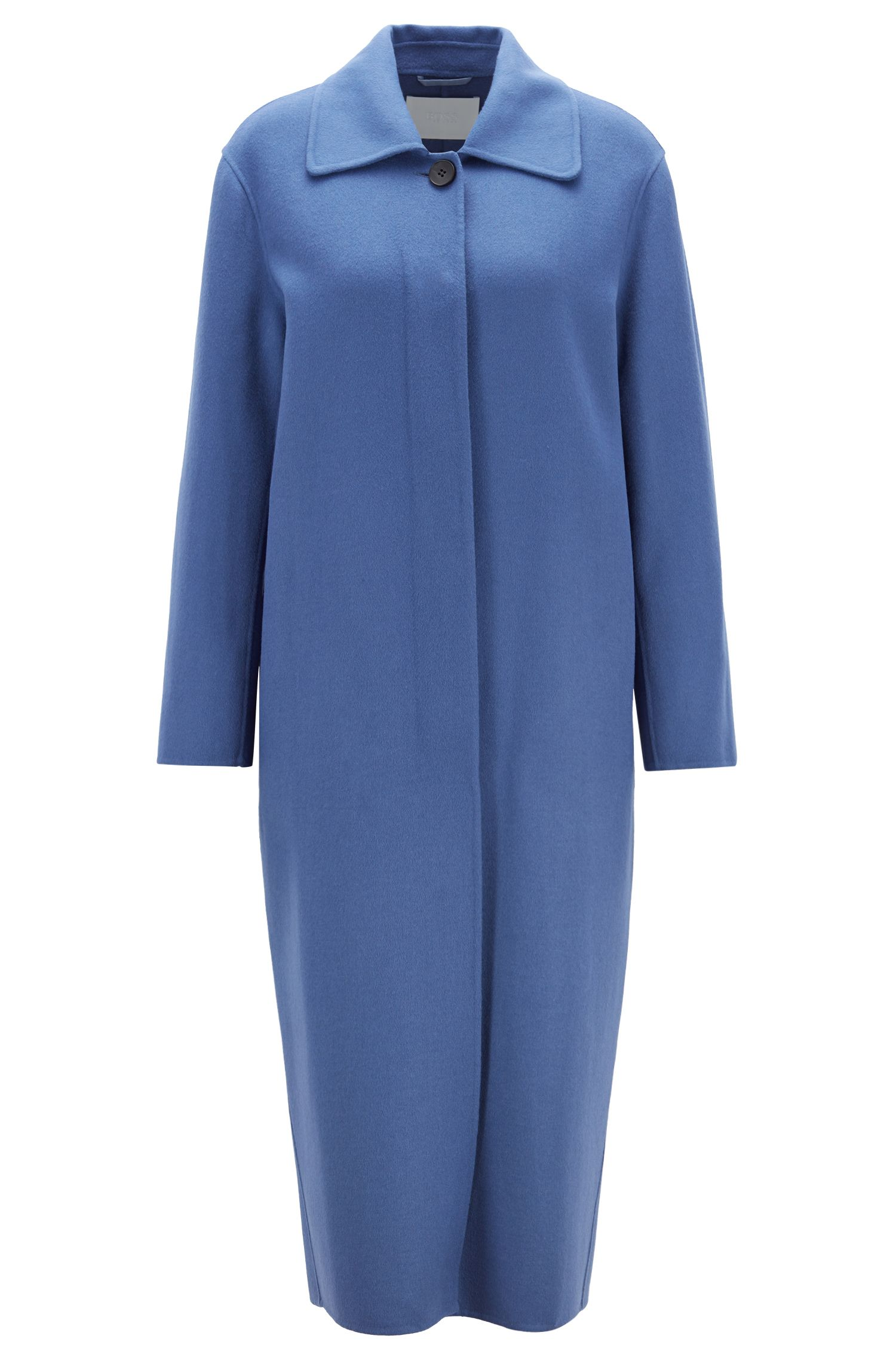 Oversized-fit coat in soft double-faced fabric, Blue