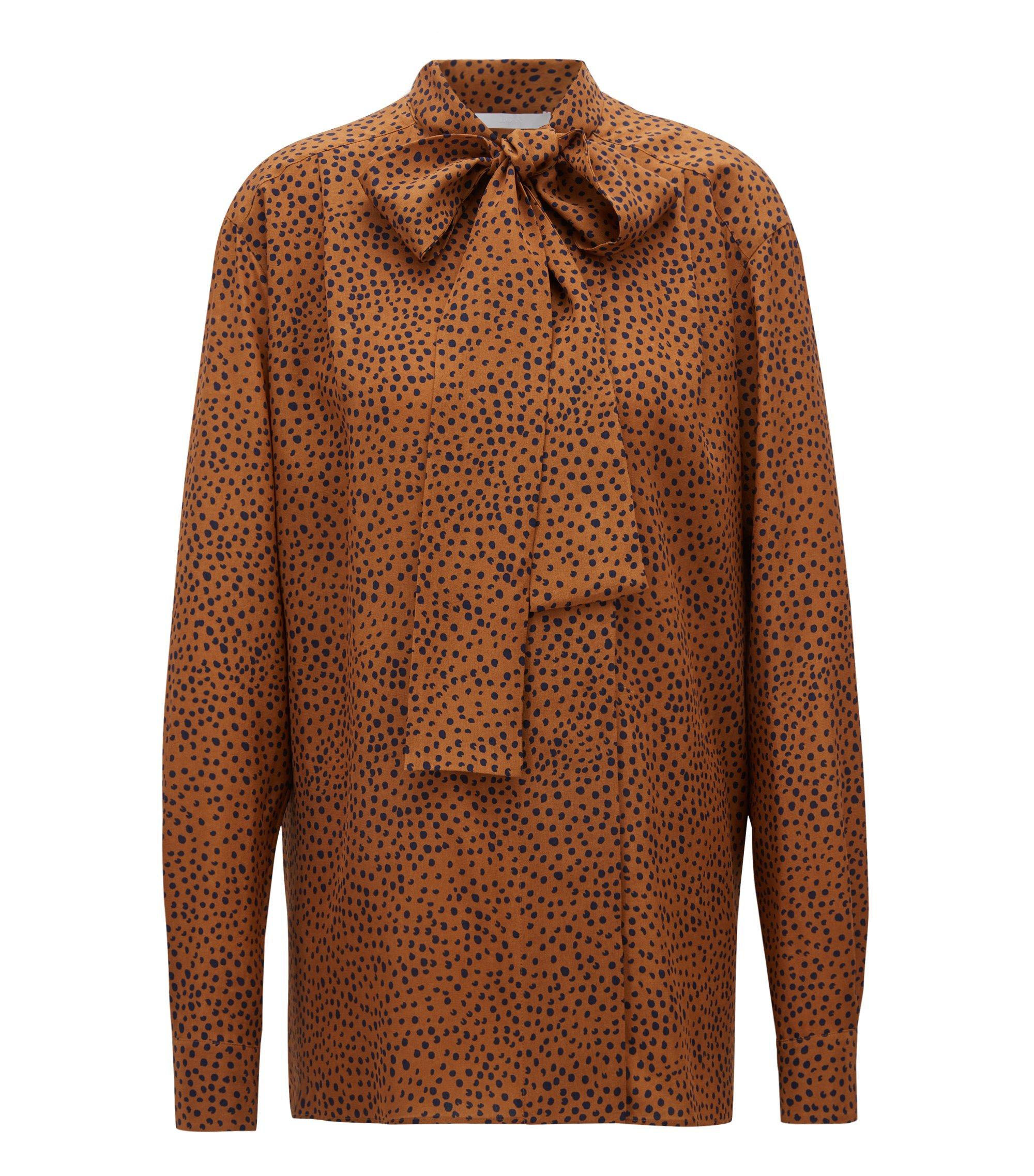 Relaxed-fit gestippelde blouse van zijde met strikhals, Bedrukt