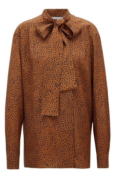 Relaxed-fit dot-print blouse in silk with bow neckline, Patterned