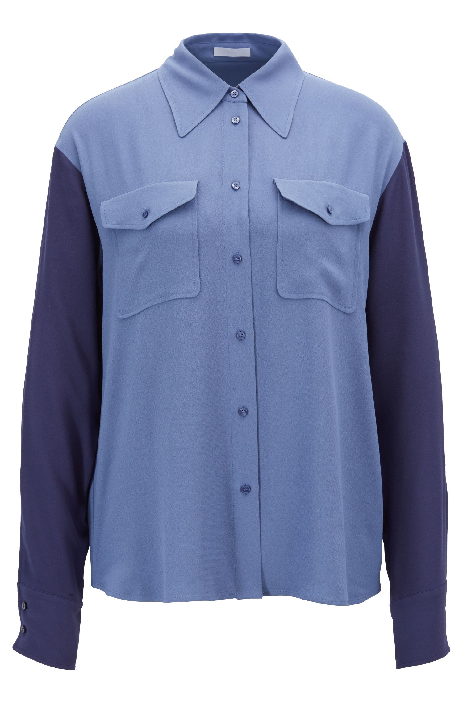 Relaxed-fit blouse in French crepe with patch pockets, Blue