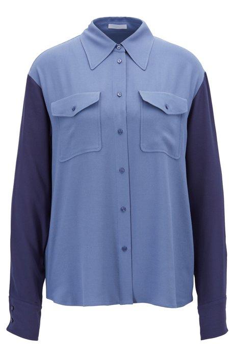 Relaxed-fit blouse van Franse crêpe met opgezette zakken, Blauw