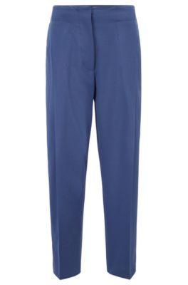 Relaxed-Fit Hose aus italienischem Schurwoll-Twill in Cropped-Länge, Blau