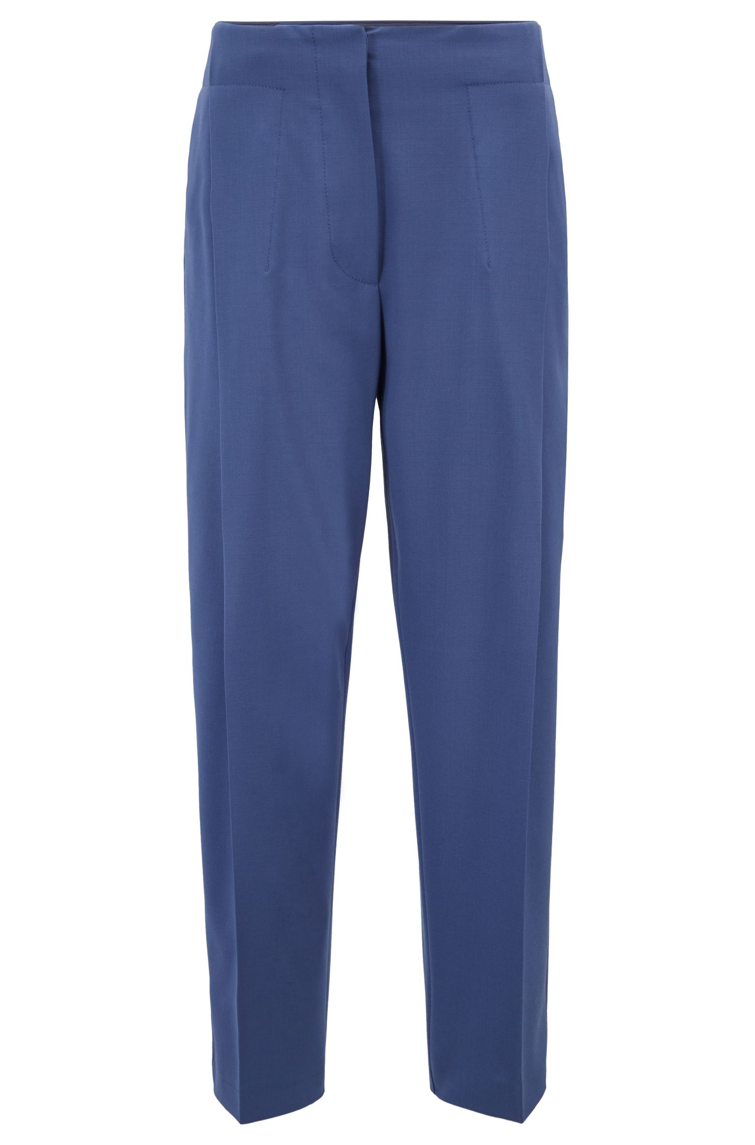 Relaxed-fit cropped trousers in Italian virgin-wool twill, Blue
