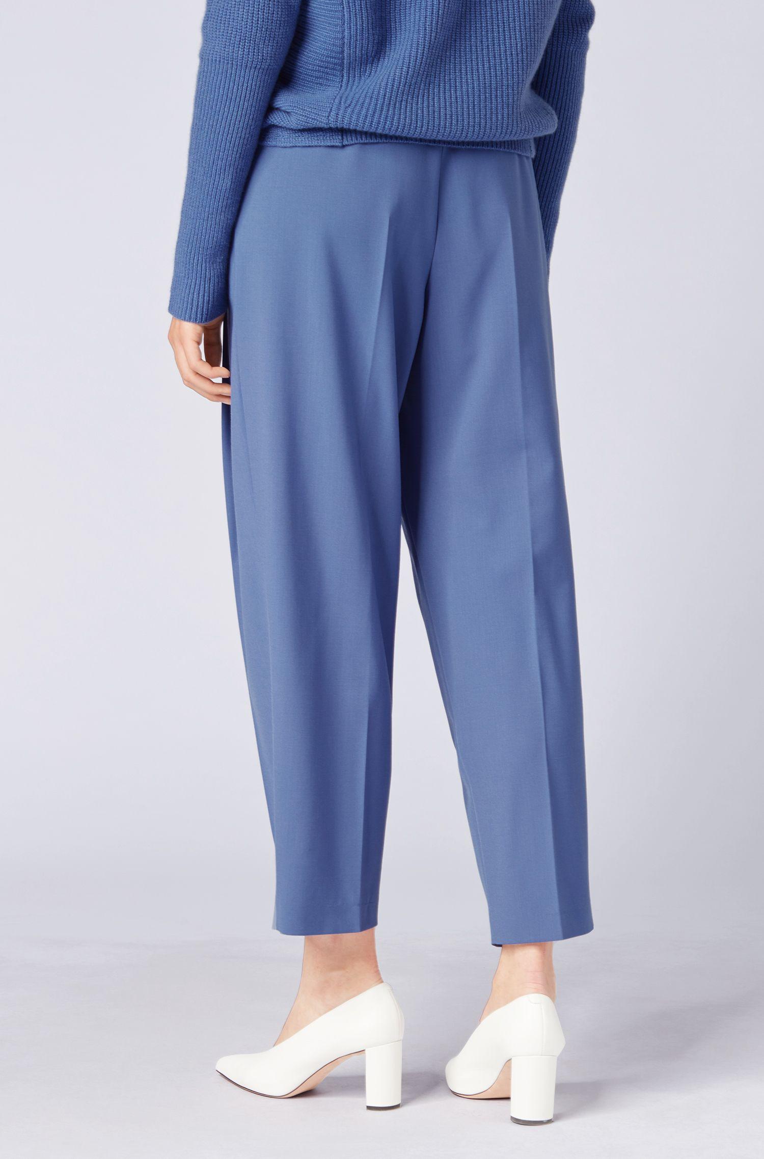 Pantaloni relaxed fit alla caviglia in twill di lana vergine realizzata in Italia, Blu