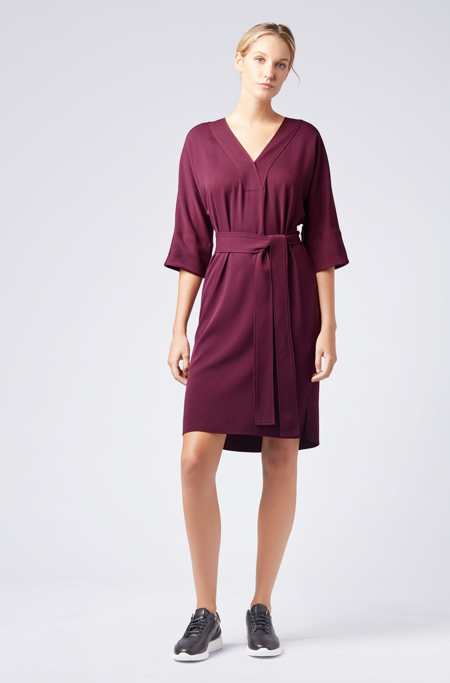V-neck dress with tie waist, Dark Red