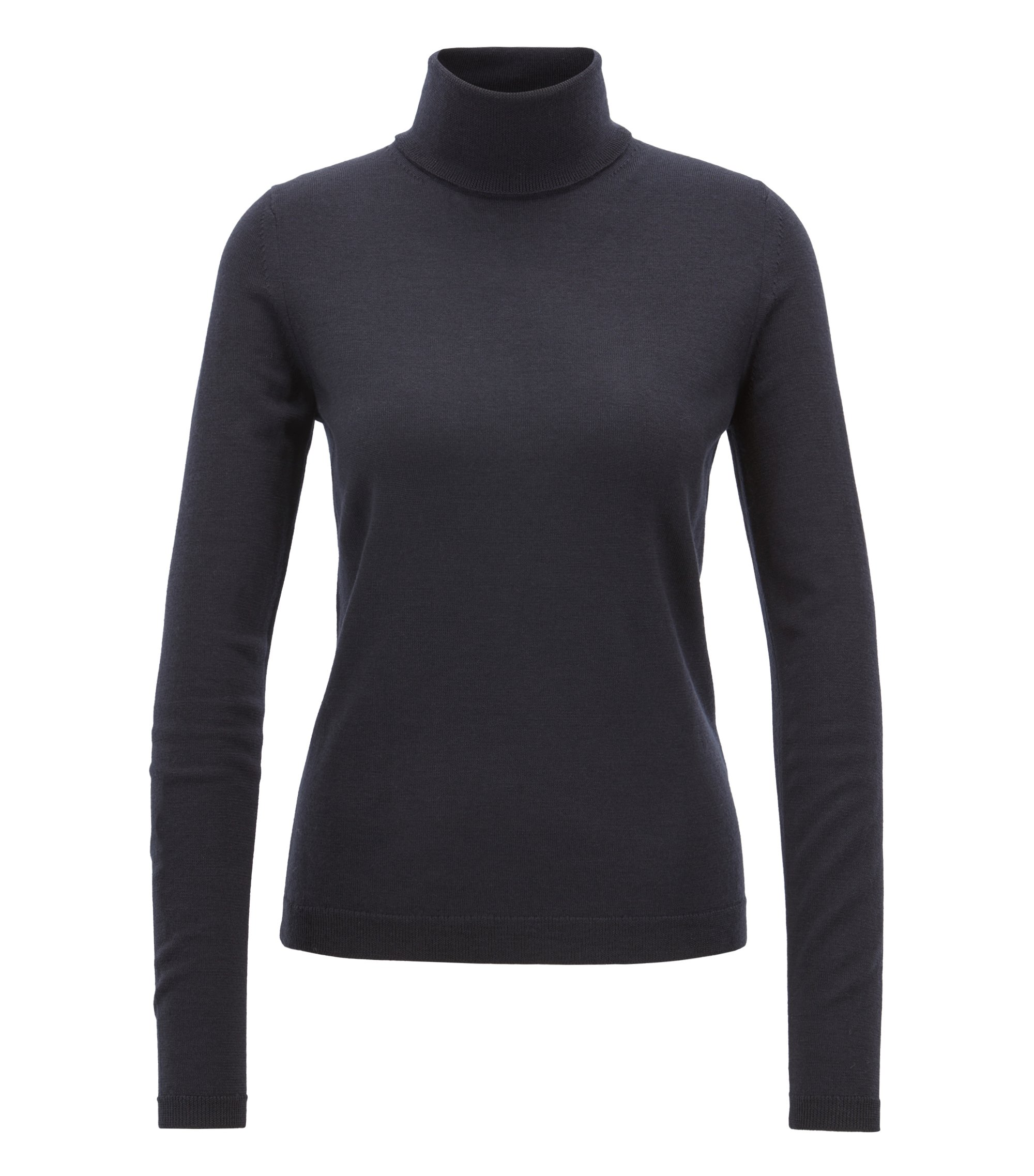 Gallery Collection rollneck sweater in mercerised virgin wool, Dark Blue