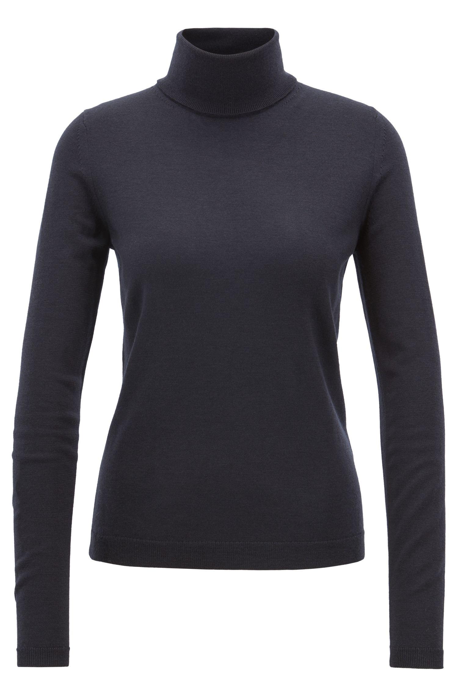 Gallery Collection rollneck sweater in mercerised virgin wool, Dark Blue