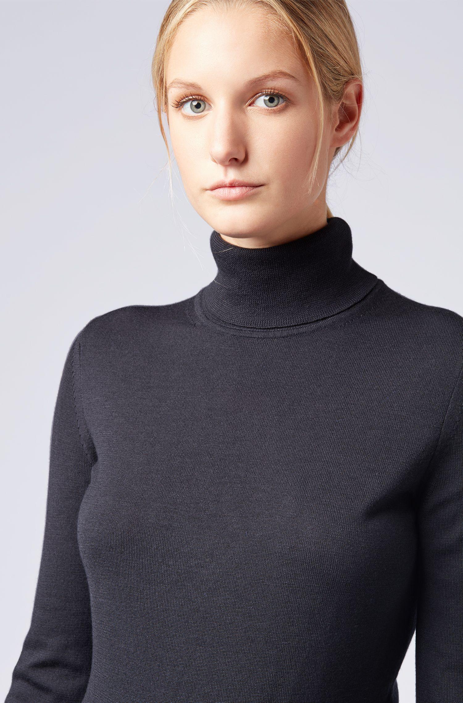 Pull à col roulé Collection Gallery, en laine vierge mercerisée, Bleu foncé
