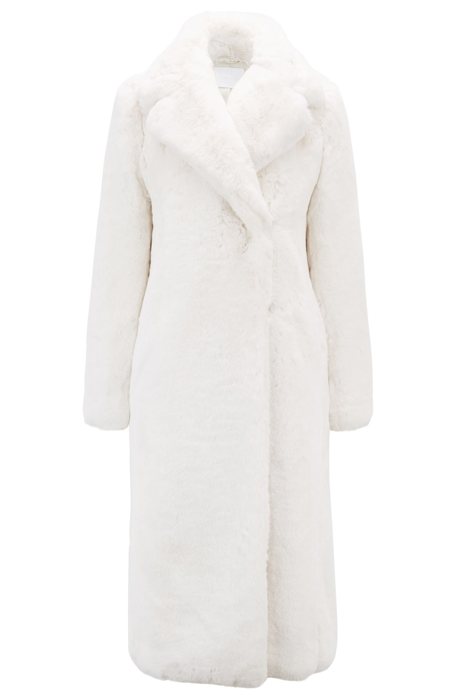Faux-fur coat with oversized lapels, Natural