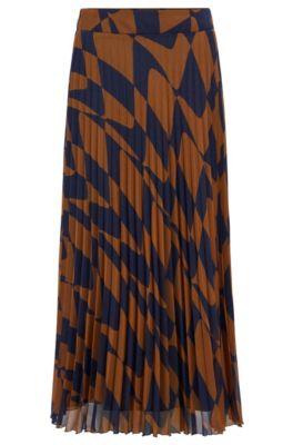 Rok in A-lijn van Italiaans pliss met een grafische golvenprint