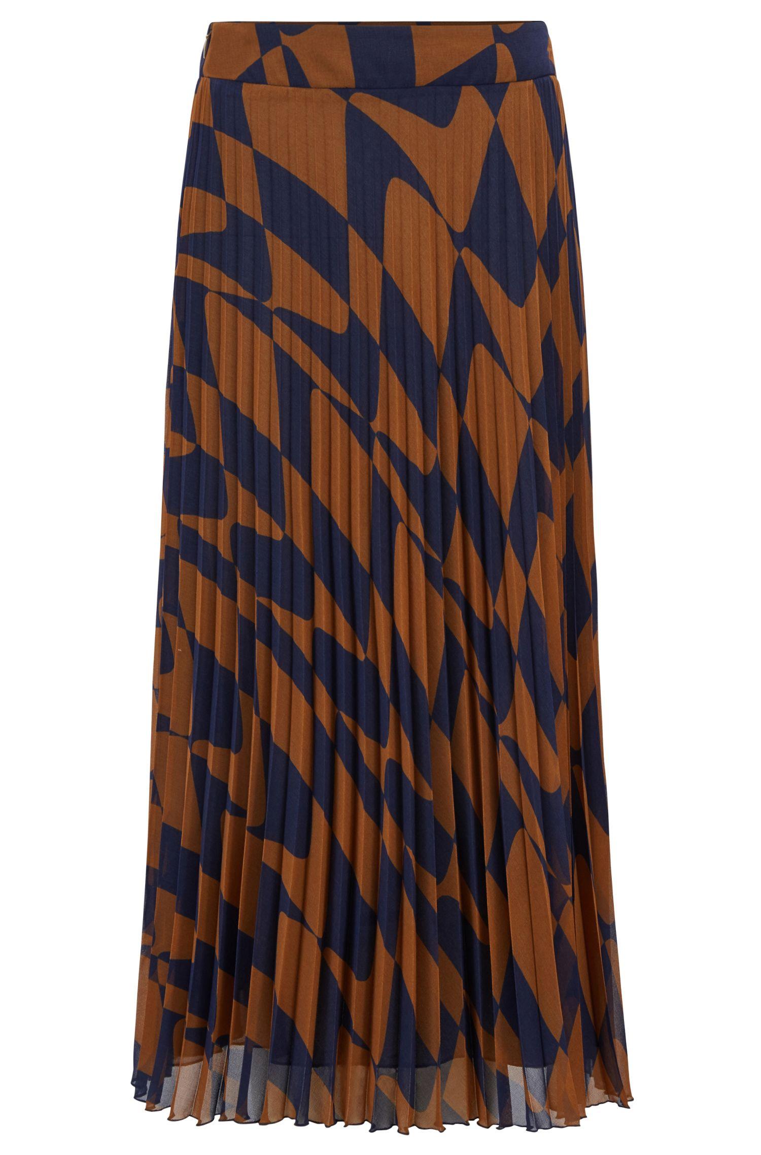 A-Linien-Rock aus italienischem Plissee mit grafischem Wellen-Print, Gemustert