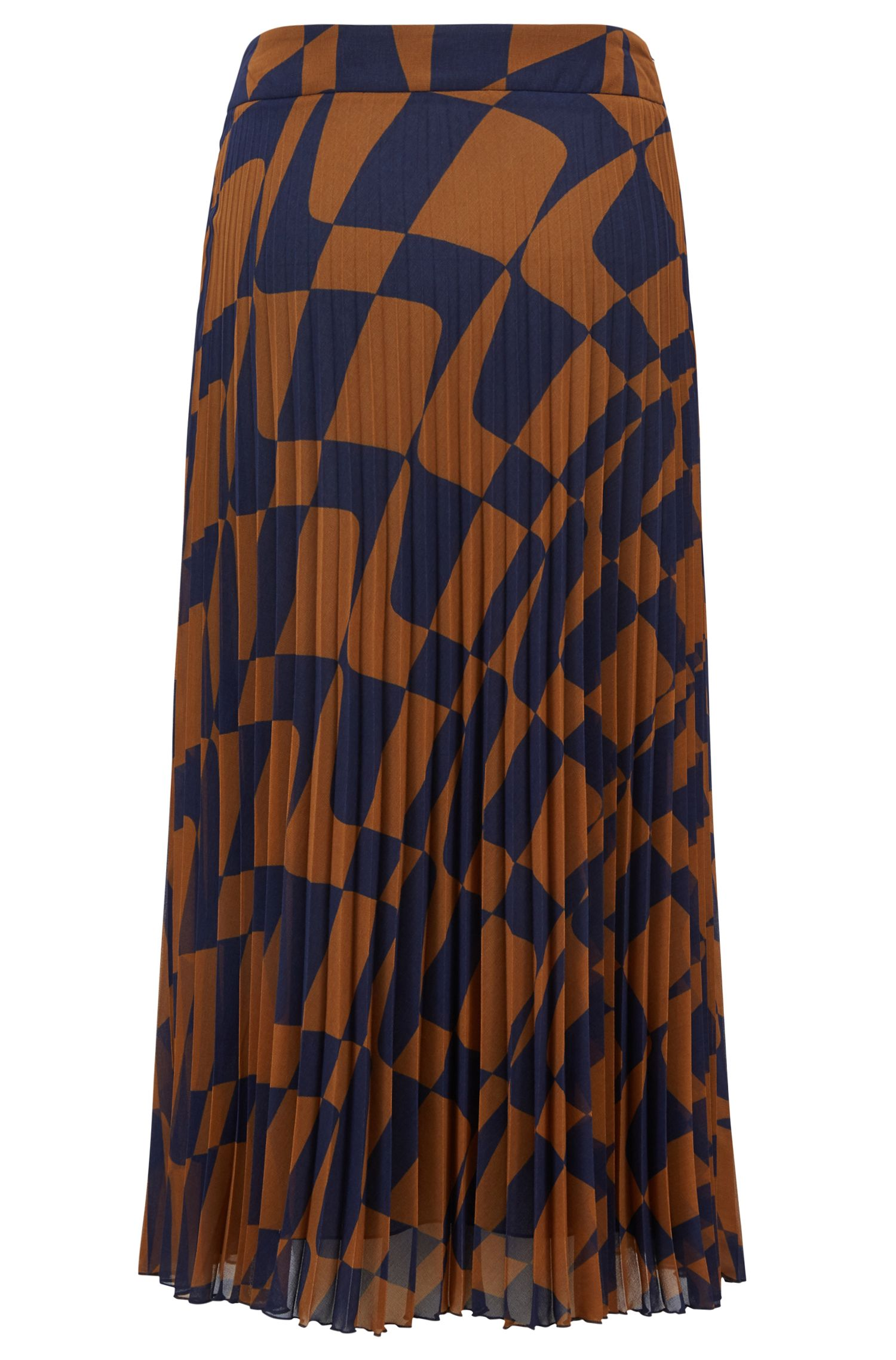 A-line skirt in Italian plissé with graphic wave print, Patterned
