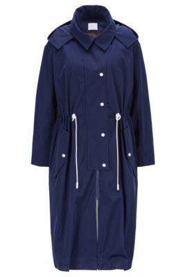 Veste d'extérieur OversizedFit à capuche, en twill imperméable, Bleu foncé