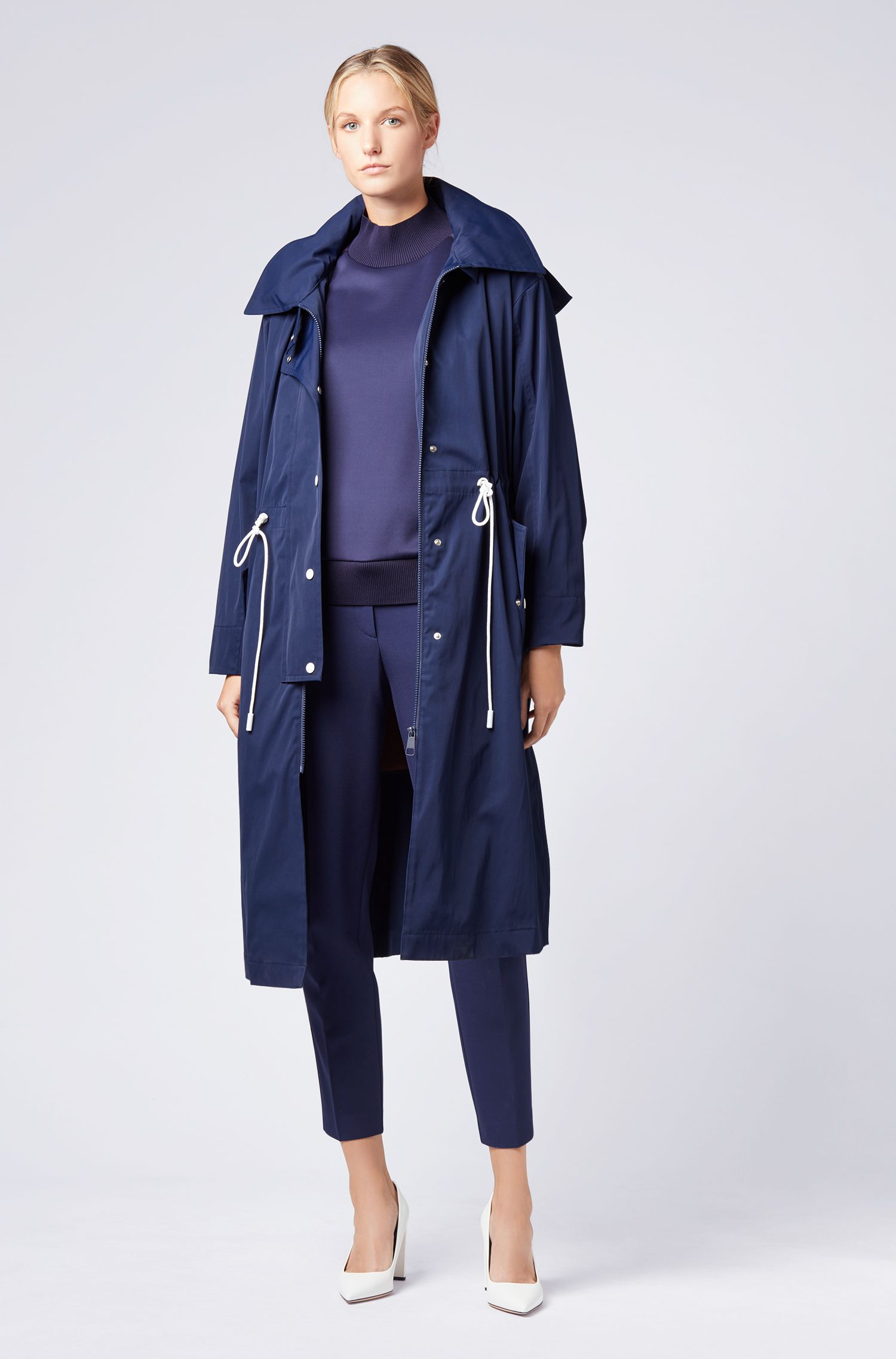 Oversized-fit hooded outerwear jacket in water-repellent twill, Dark Blue