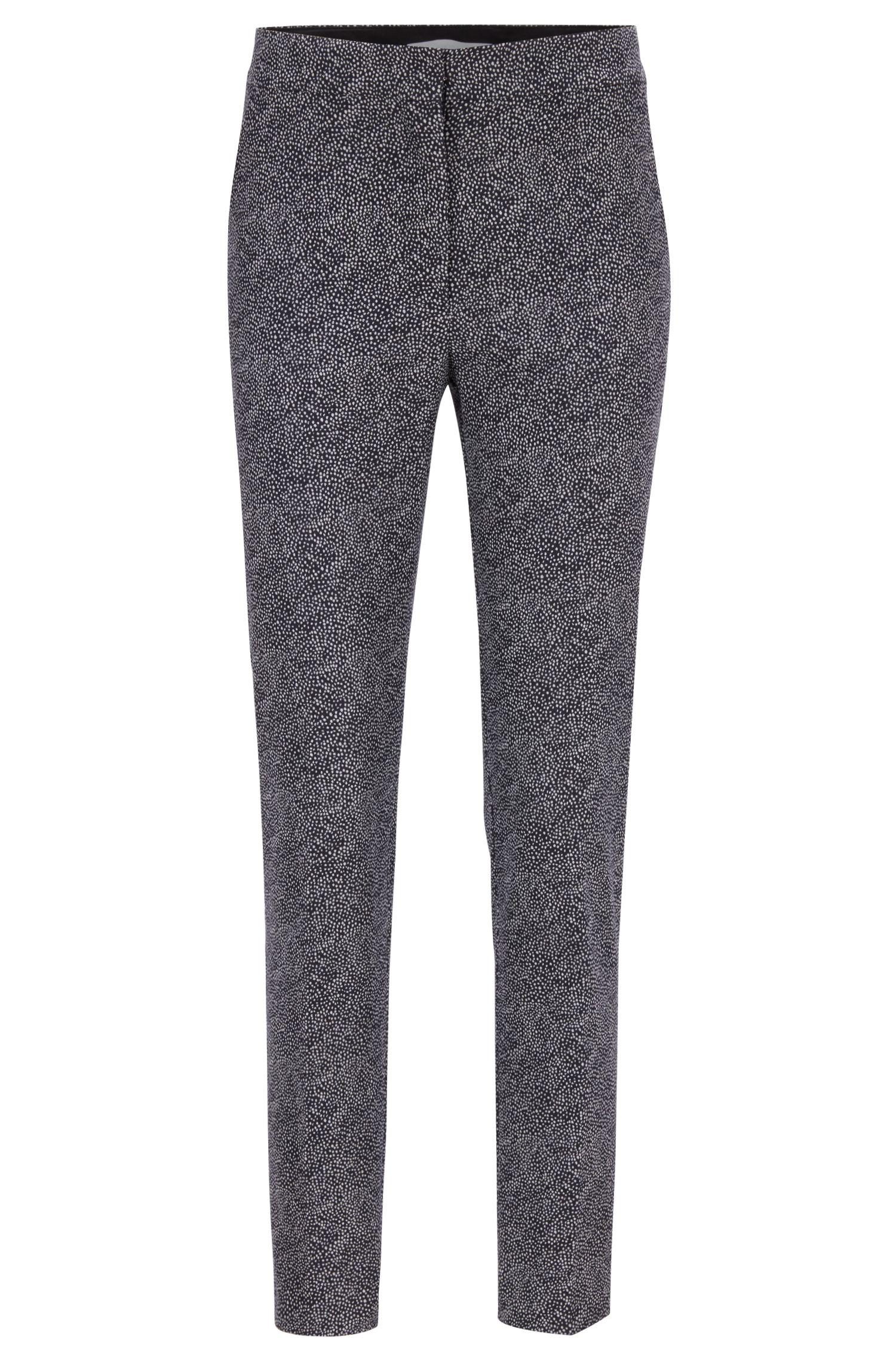 Cropped-Hose aus Stretch-Krepp mit Punkte-Print, Gemustert