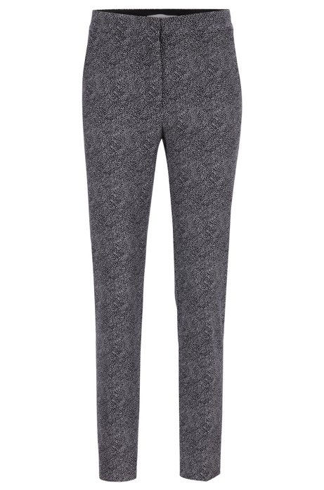 Cropped trousers in stretch crepe with dot print, Patterned