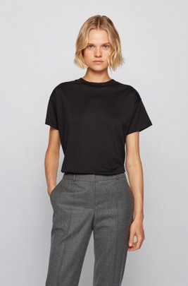 Relaxed-fit T-shirt in mercerised cotton, Black