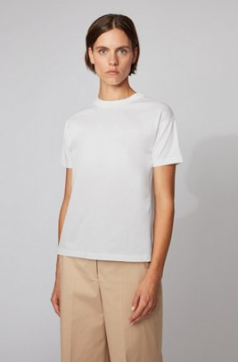Relaxed-fit T-shirt in mercerised cotton, White