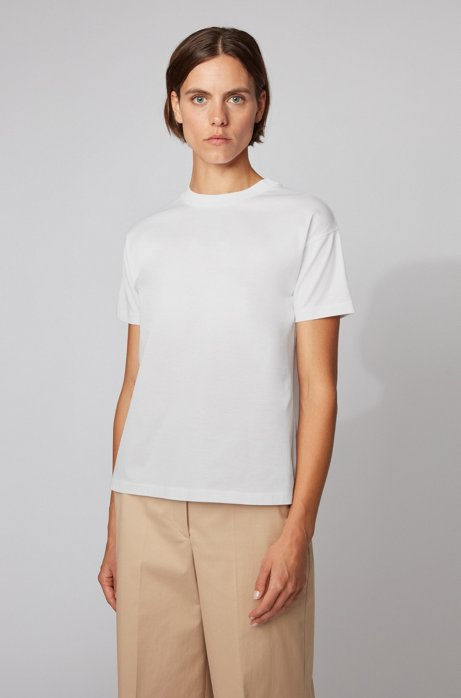 T-shirt Relaxed Fit en coton mercerisé, Blanc