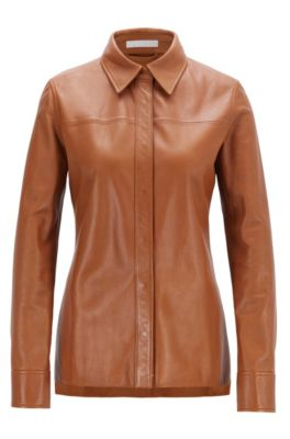 Regular-Fit Bluse aus Leder mit verdeckter Knopfleiste, Hellbraun