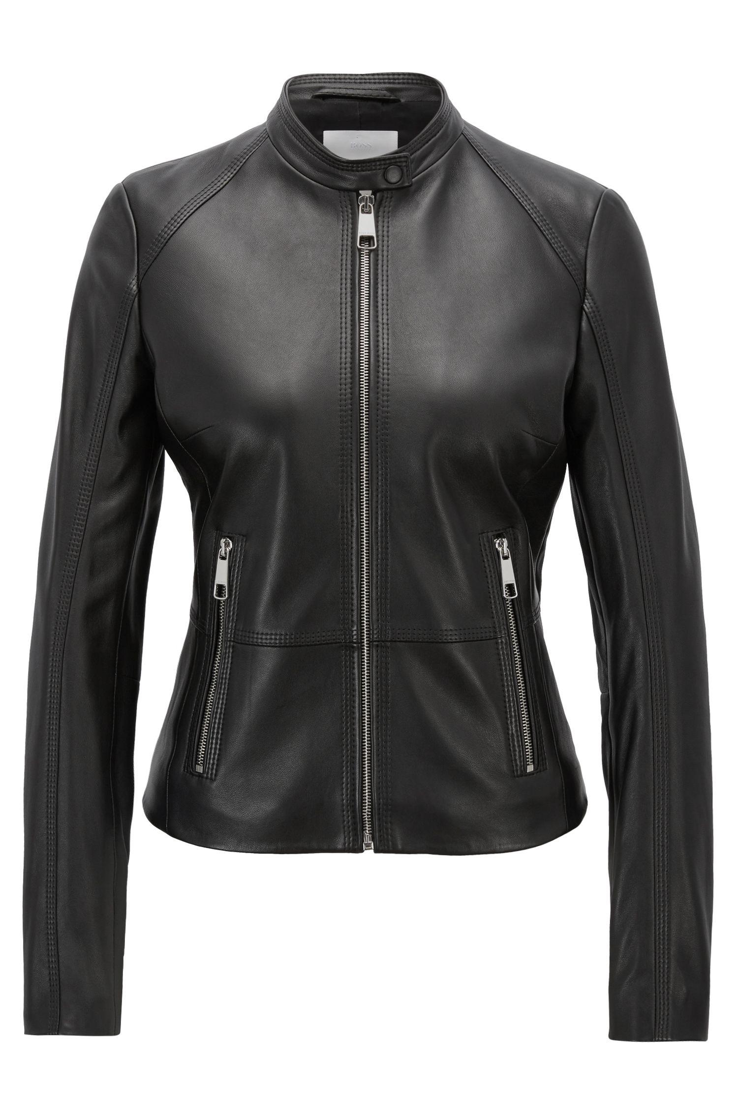 Regular-fit biker jacket in lambskin with zipped pockets, Black