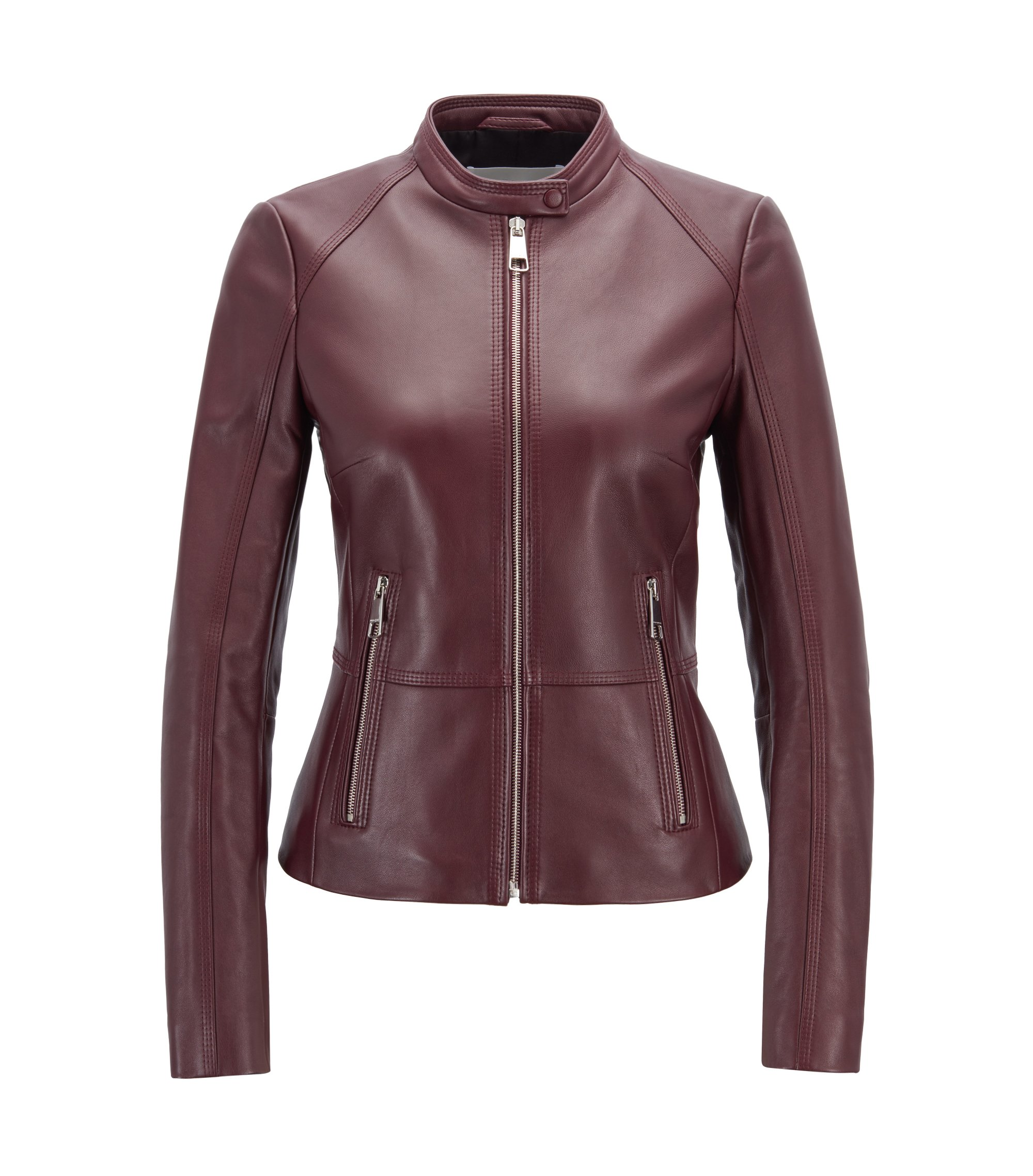 Regular-fit biker jacket in lambskin with zipped pockets, Dark pink