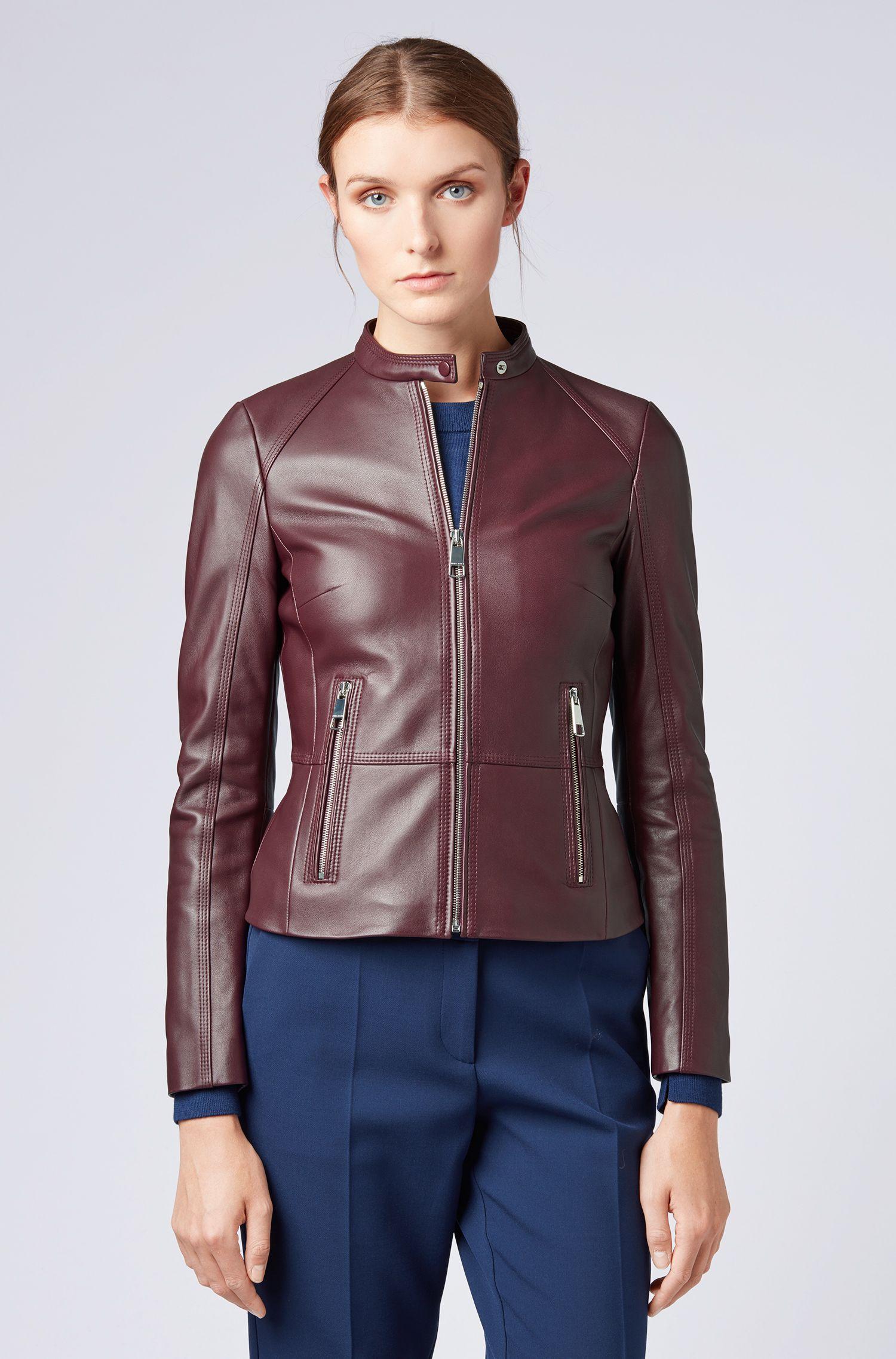 Regular-fit biker jacket in lambskin with zipped pockets, Dark pink