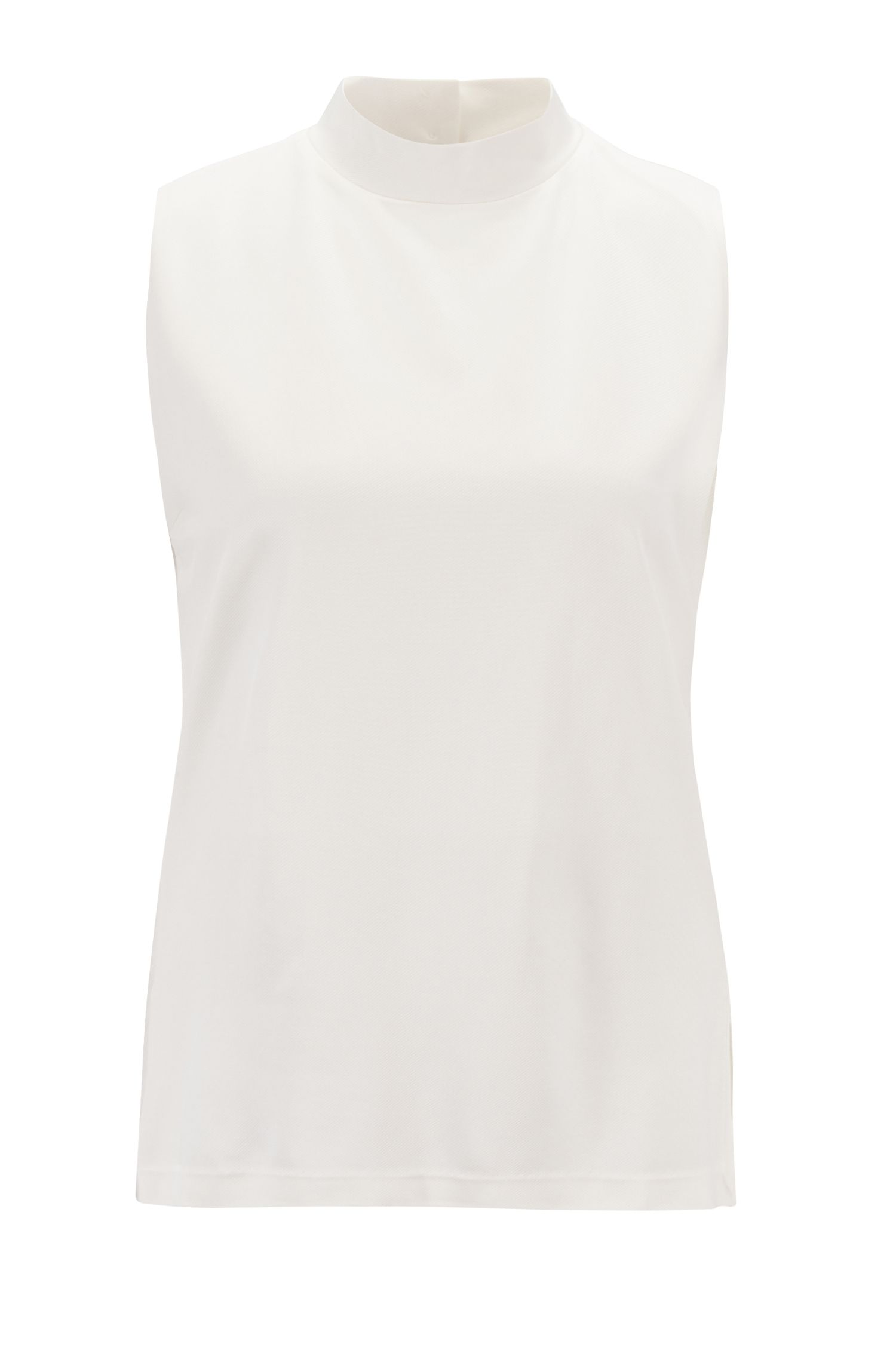 Relaxed-fit mouwloze top in twilljersey, Naturel