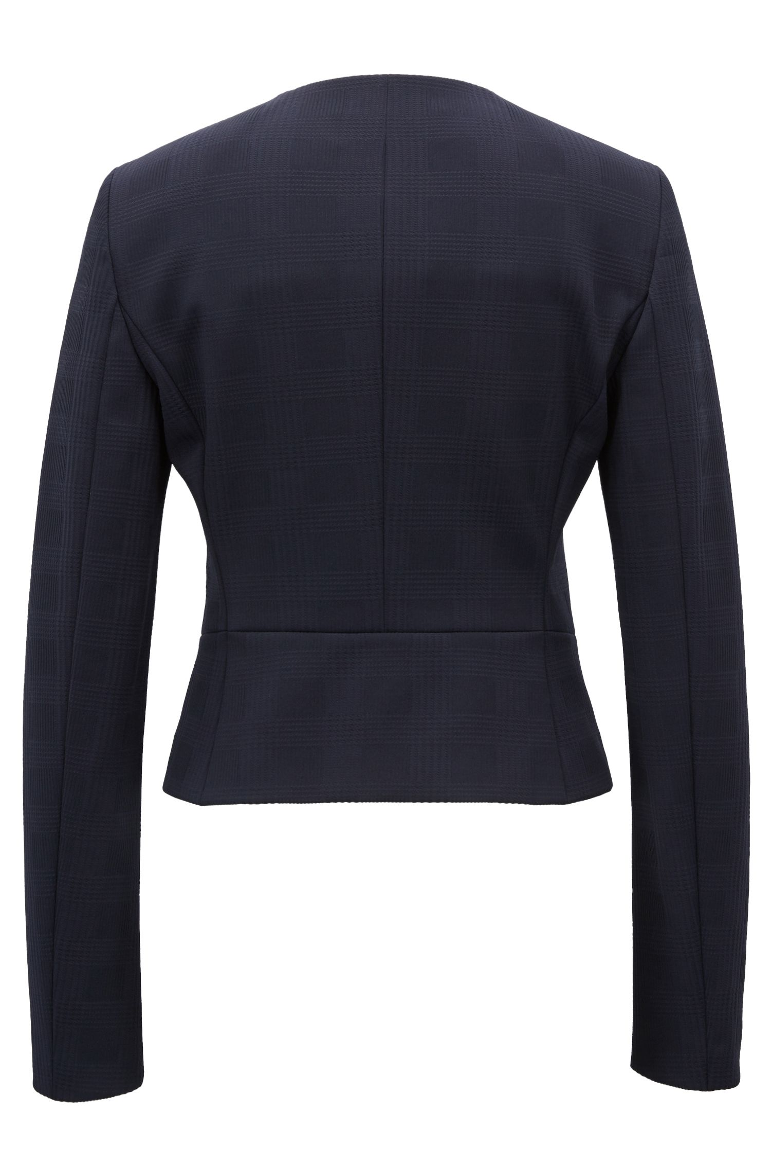 Veste sans col Regular Fit en jersey stretch à motif prince-de-galles, Bleu foncé