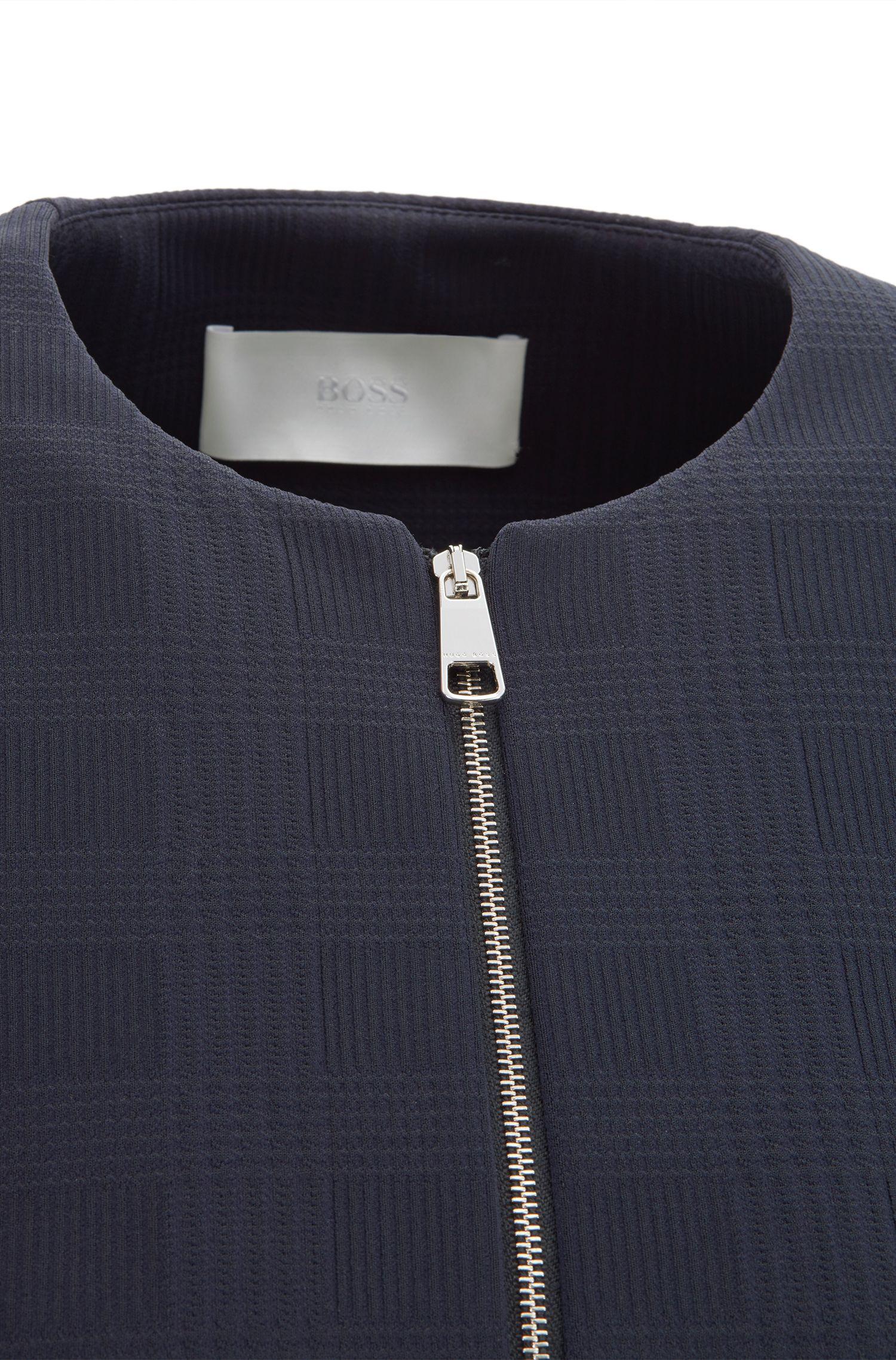Regular-fit collarless jacket in Glen-check stretch jersey, Dark Blue