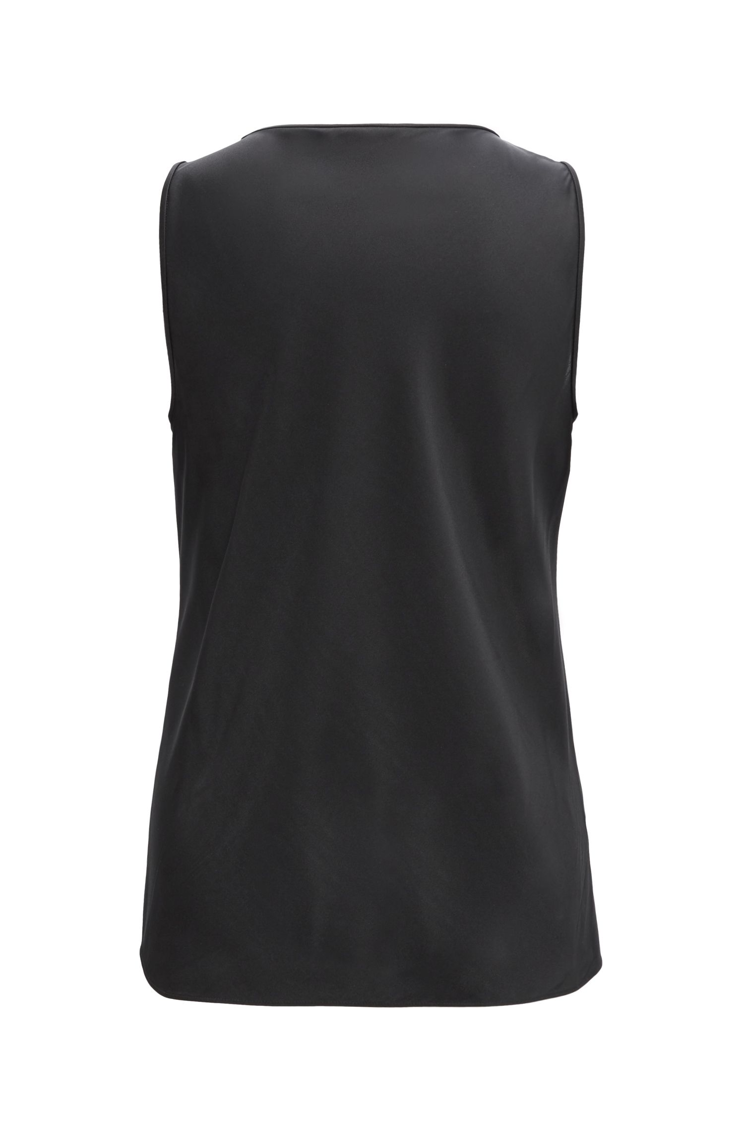 Scoop-neck sleeveless top in stretch silk, Black
