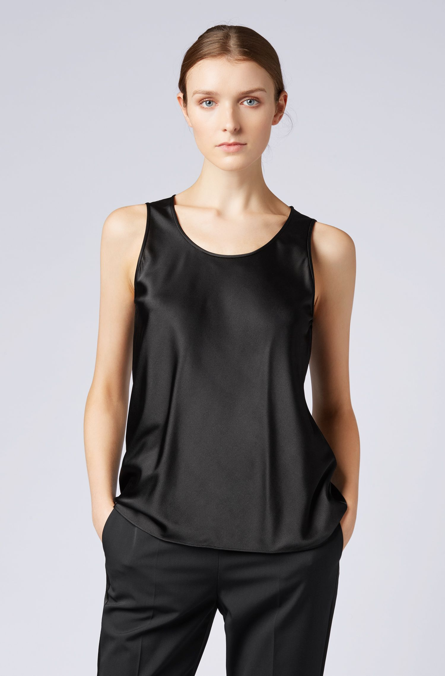 Scoop-neck sleeveless top in stretch silk, Black