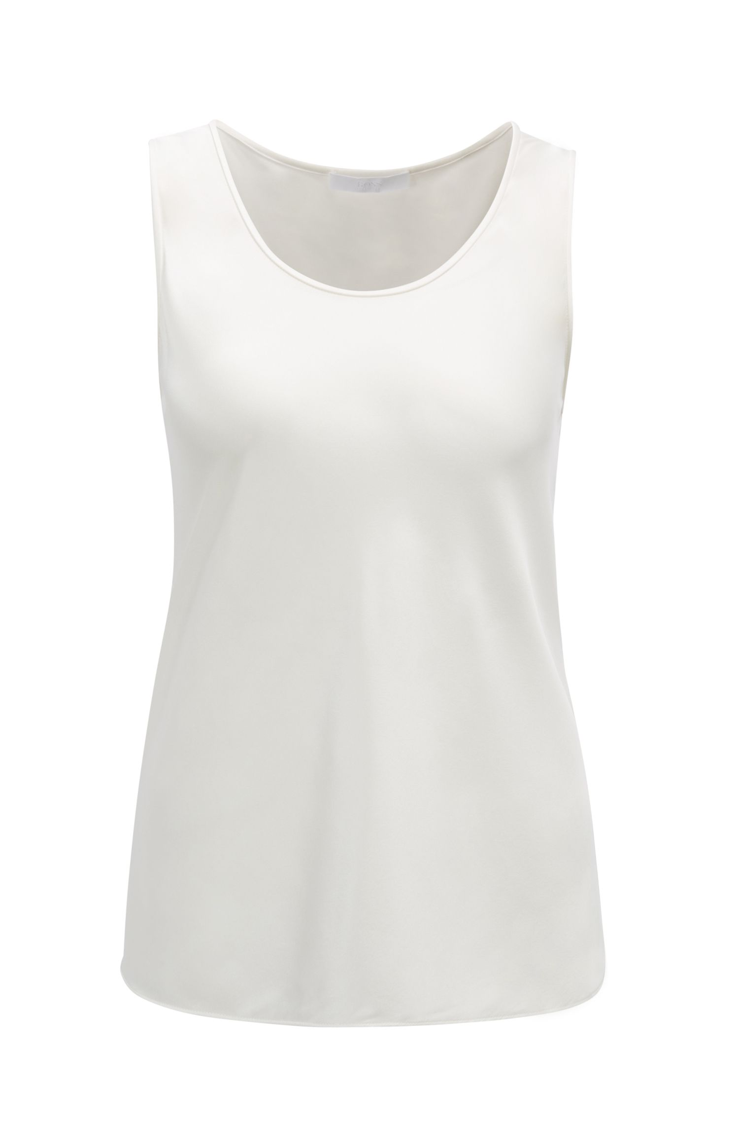 Scoop-neck sleeveless top in stretch silk, Natural