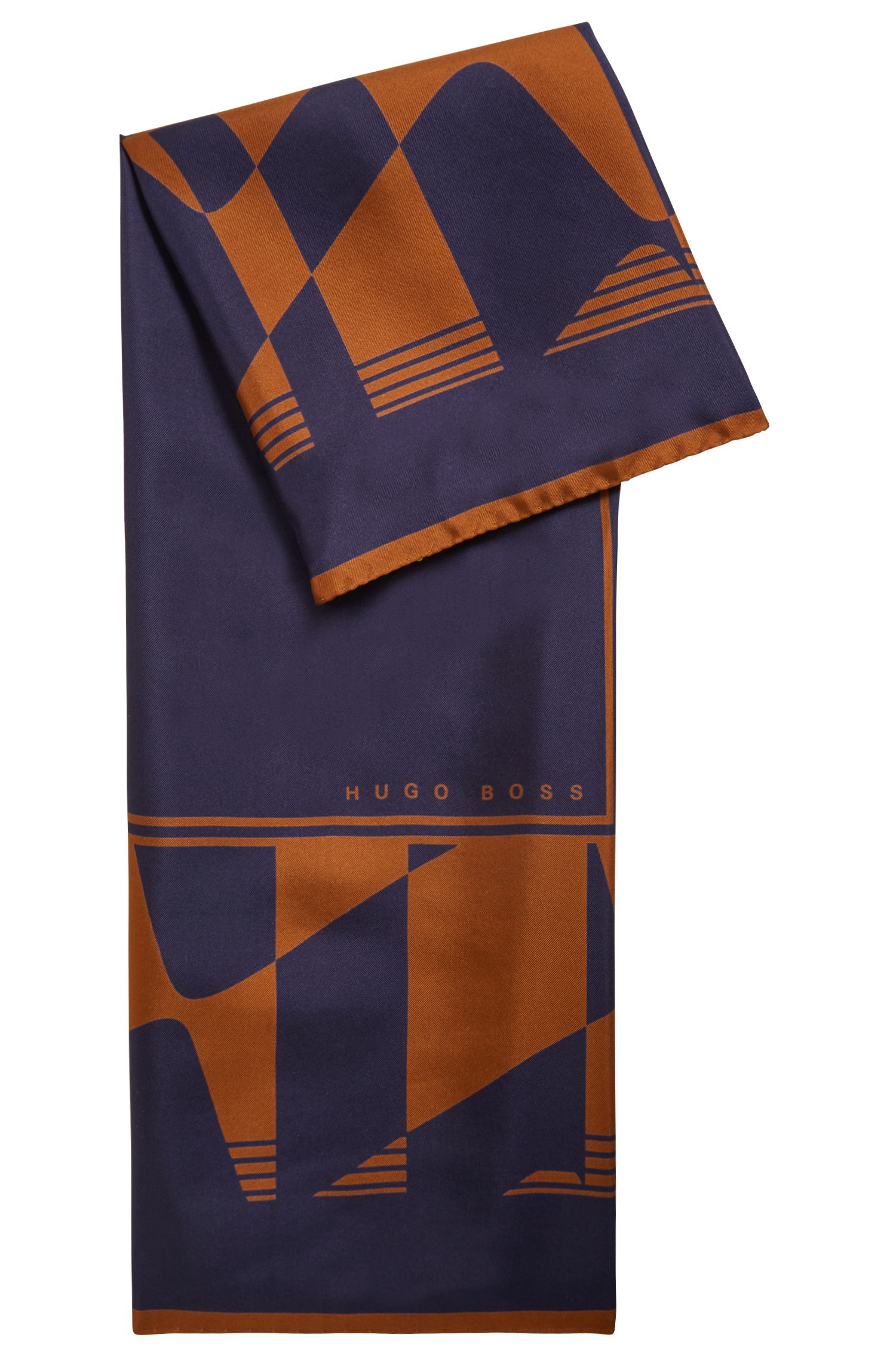 Italian-made square scarf in silk with collection print, Patterned