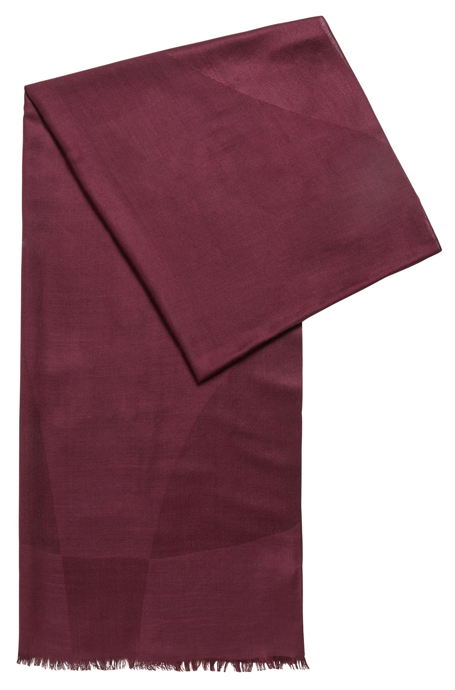 Graphic-jacquard scarf in silk with wool, Dark pink