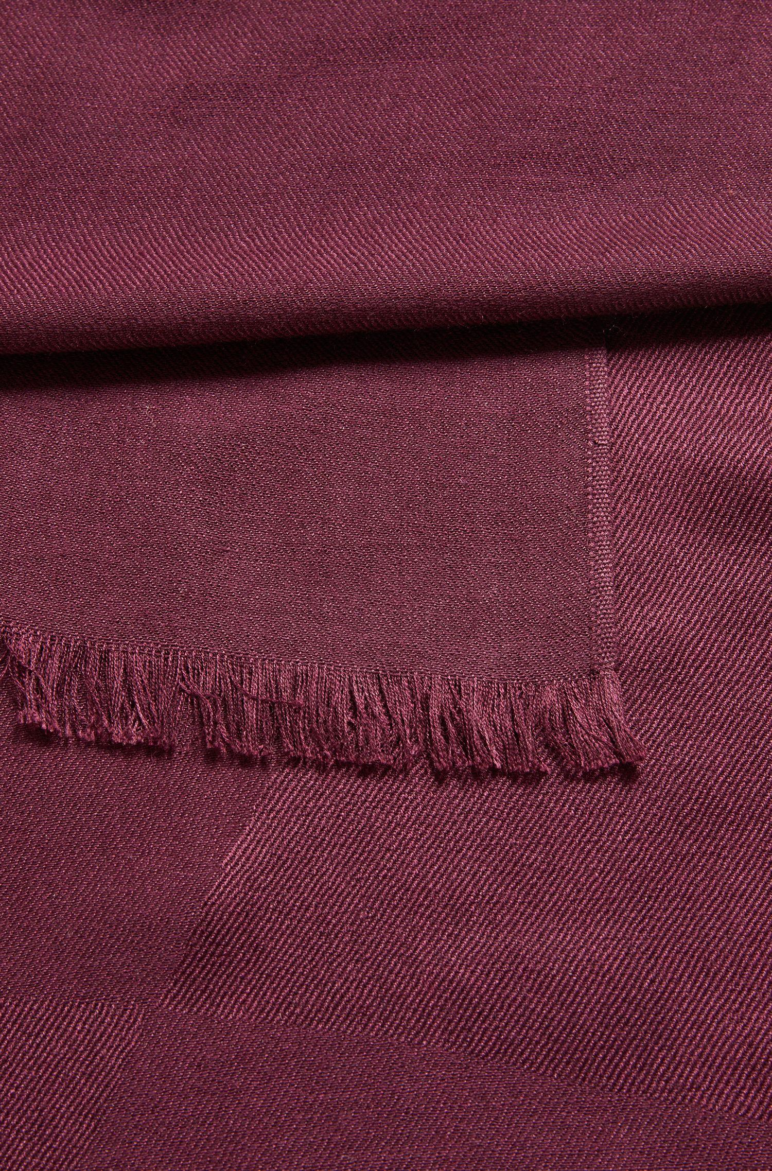 Schal aus Seide mit Wolle und grafischem Jacquard-Muster, Dunkelrosa