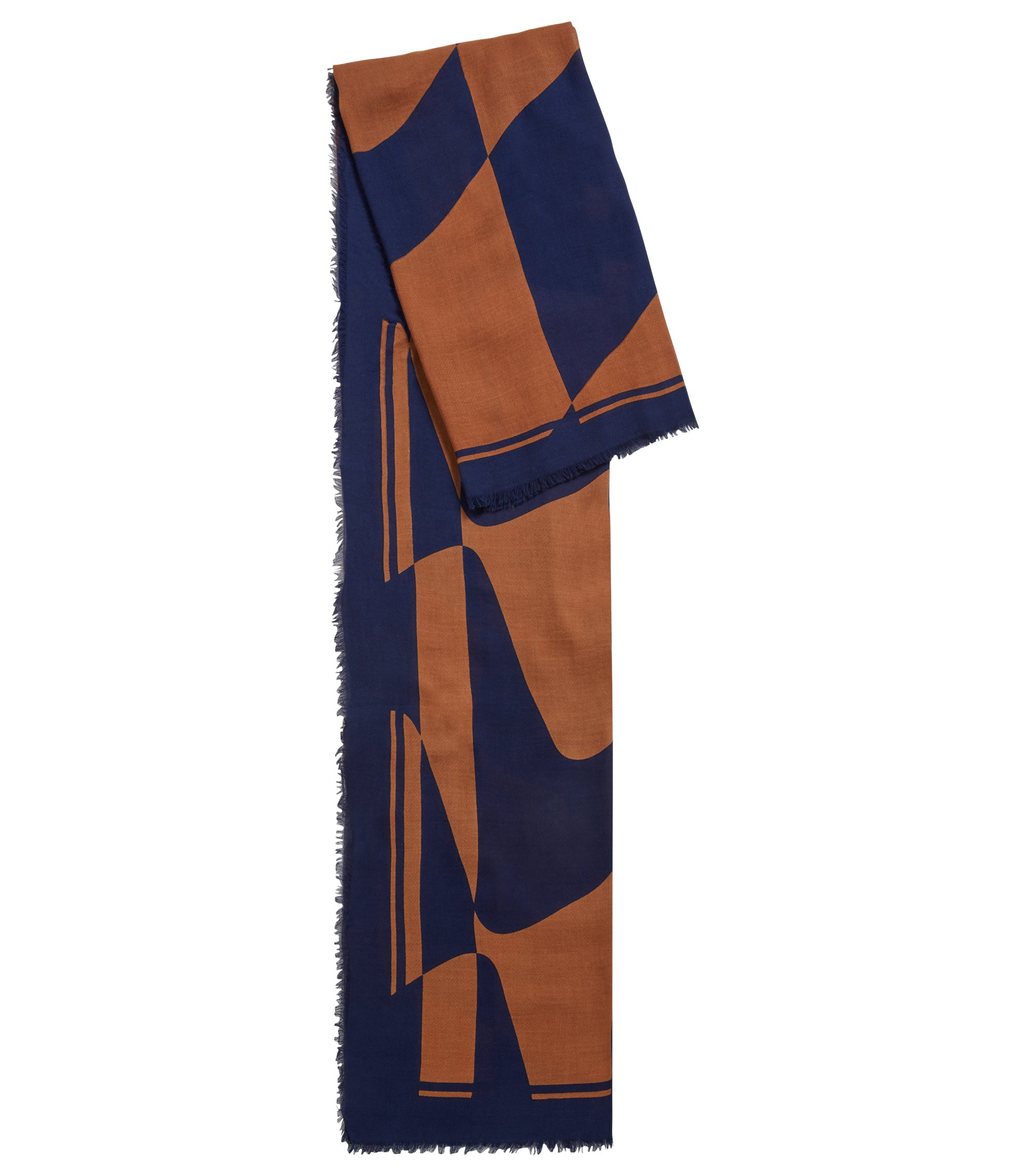 Fringed scarf in a cotton blend with signature print, Patterned