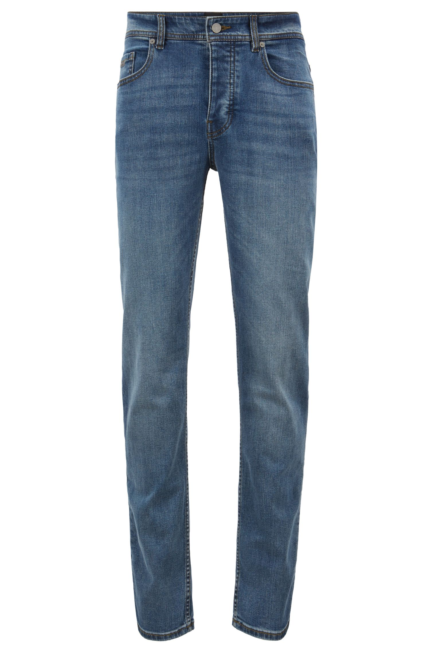 Tapered-fit jeans van grey-cast stretchdenim, Blauw