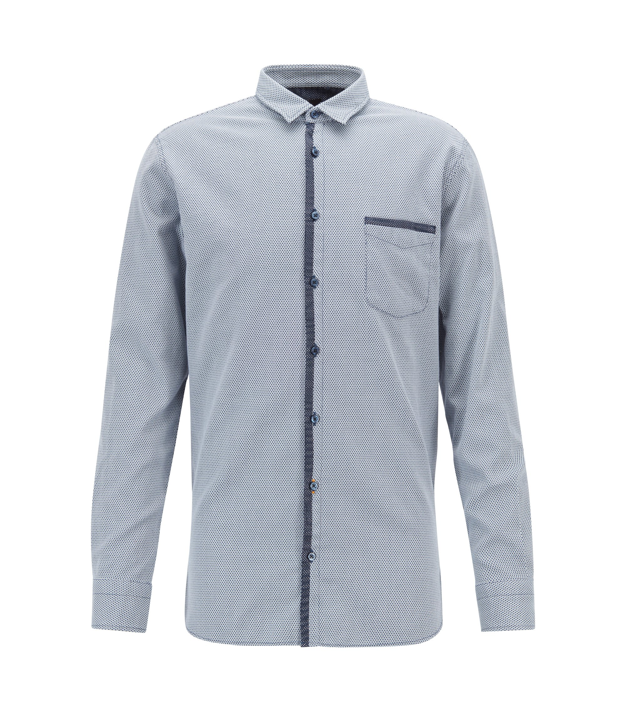 Slim-fit shirt in stretch dobby cotton with mesh trims, Dark Blue