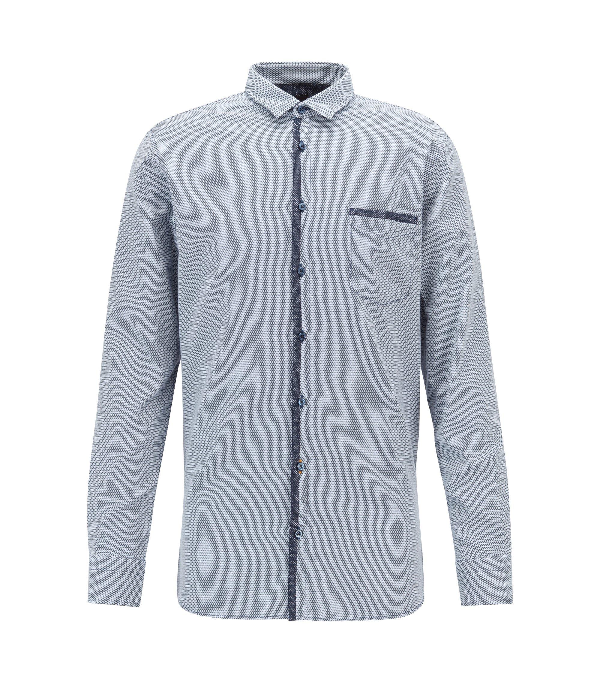 Camicia slim fit in cotone dobby elasticizzato con guarnizioni a rete, Blu scuro