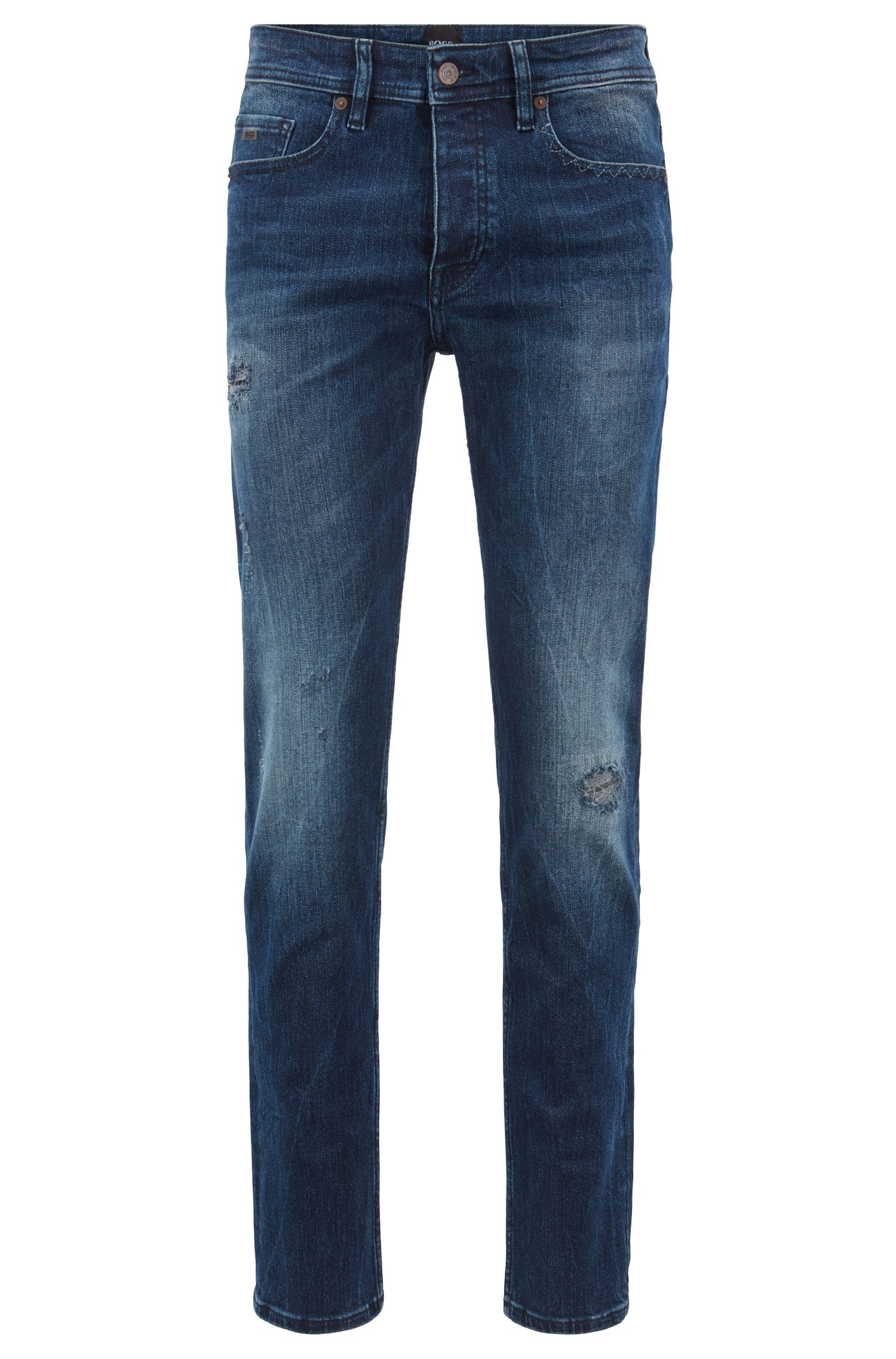 Tapered-fit jeans in overdyed stretch denim, Dark Blue